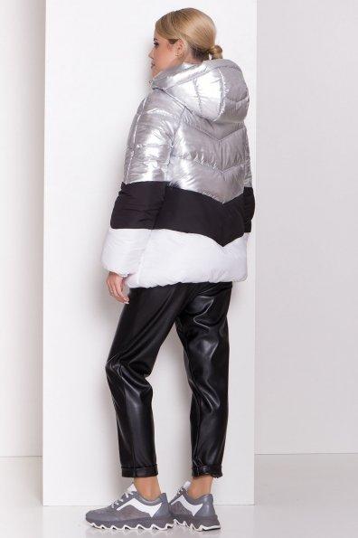 Трехцветный пуховик Австрия 8371 Цвет: Серебро/черный/белый