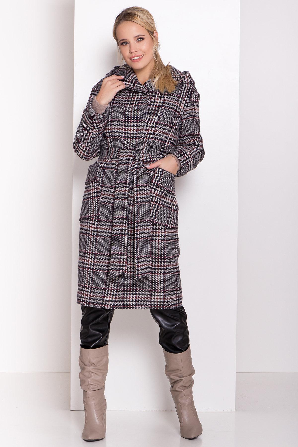 Зимнее пальто в стильную клетку Анджи 8276 АРТ. 44724 Цвет: Клетка кр черн/сер/вин - фото 1, интернет магазин tm-modus.ru