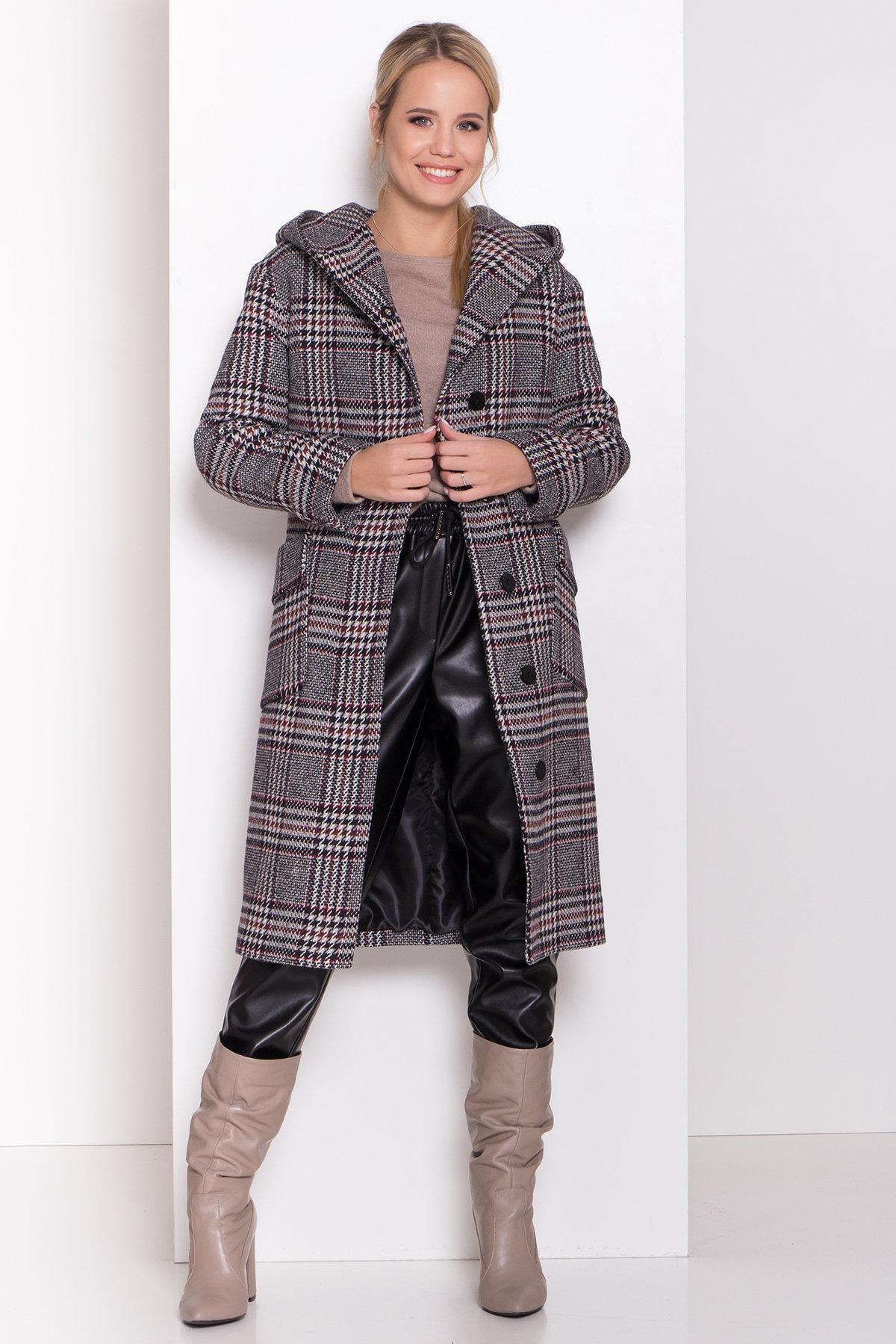 Зимнее пальто в стильную клетку Анджи 8276 АРТ. 44724 Цвет: Клетка кр черн/сер/вин - фото 4, интернет магазин tm-modus.ru