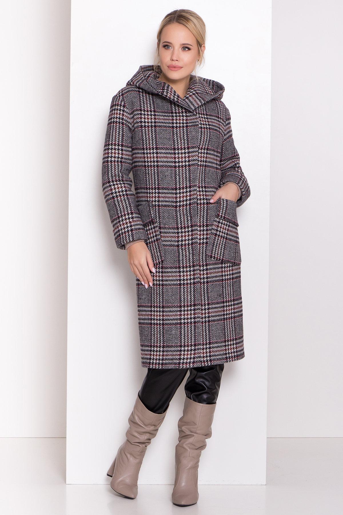Зимнее пальто в стильную клетку Анджи 8276 АРТ. 44724 Цвет: Клетка кр черн/сер/вин - фото 7, интернет магазин tm-modus.ru