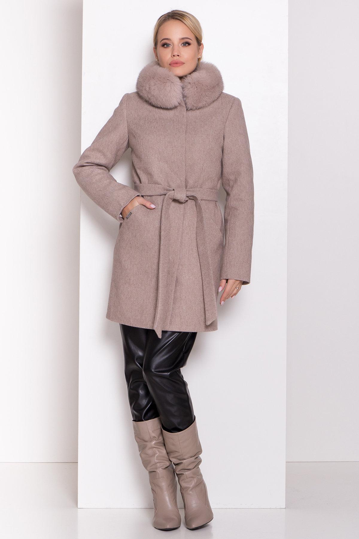 Зимнее пальто в Украине Зимнее пальто диагональ бежевое Сплит 8409