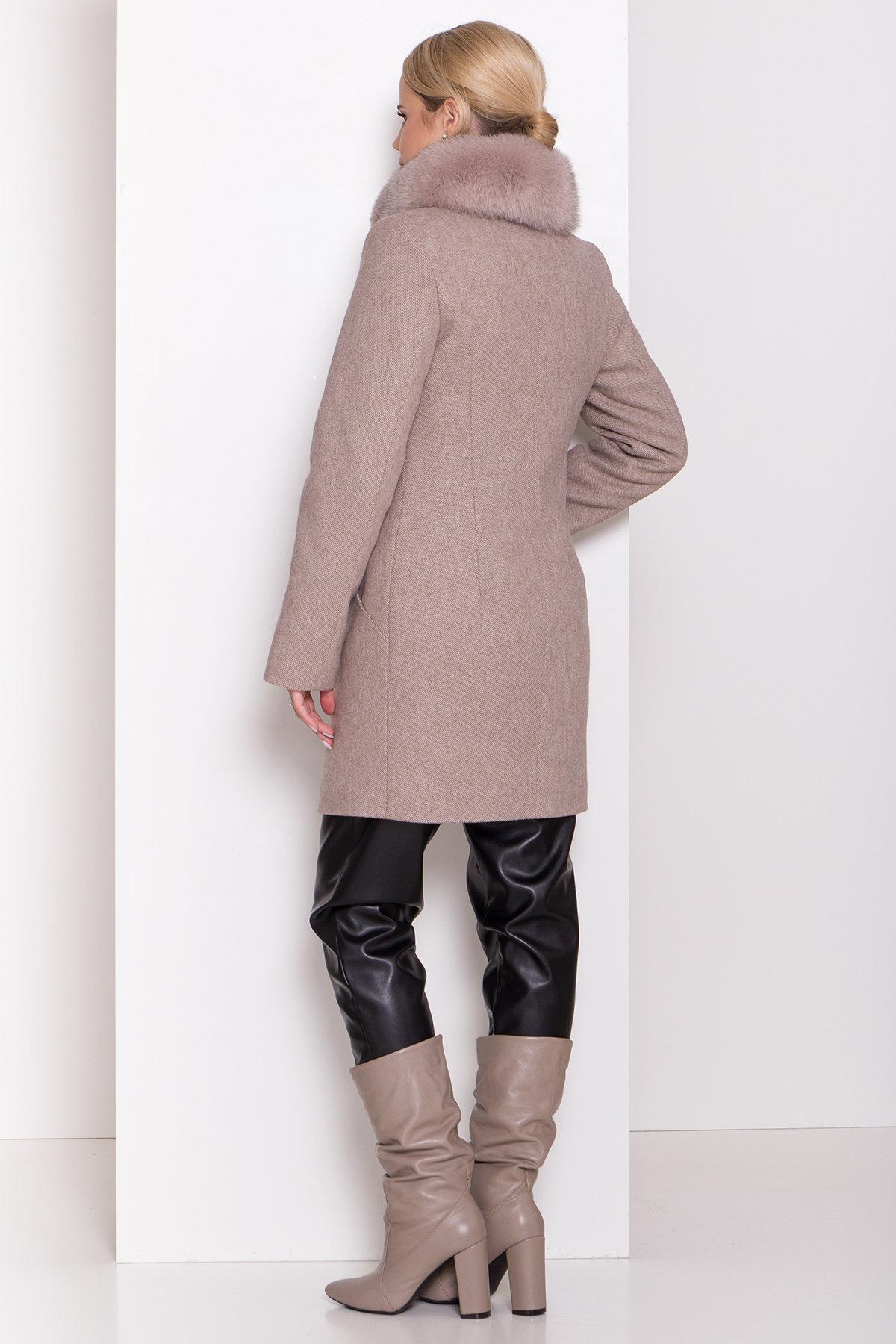 Зимнее пальто диагональ бежевое Сплит 8409 АРТ. 44638 Цвет: Бежевый меланж - фото 4, интернет магазин tm-modus.ru