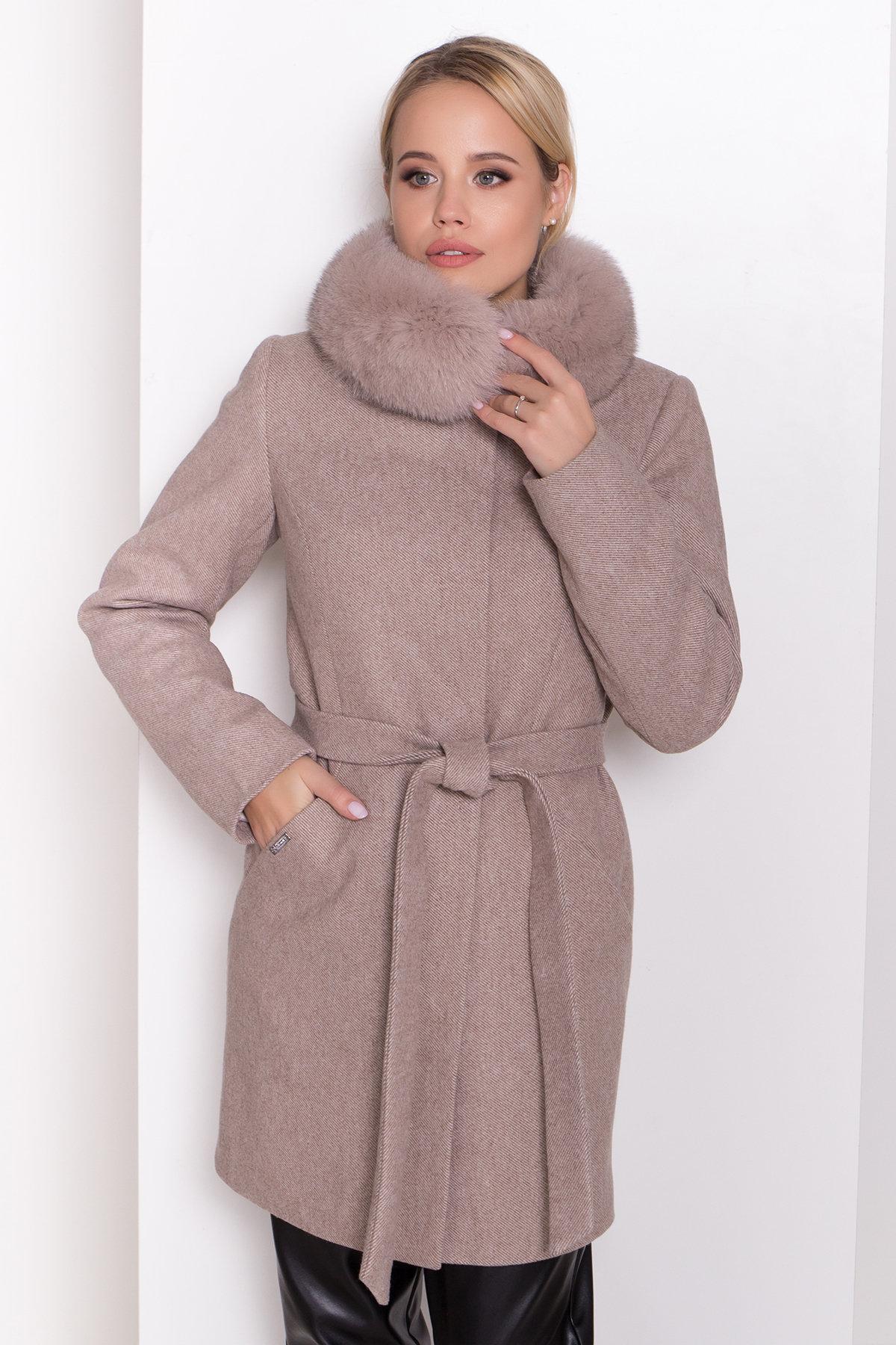 Зимнее пальто диагональ бежевое Сплит 8409 АРТ. 44638 Цвет: Бежевый меланж - фото 5, интернет магазин tm-modus.ru