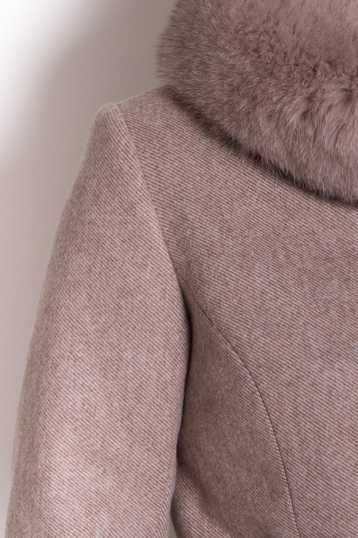 Зимнее пальто диагональ бежевое Сплит 8409 АРТ. 44638 Цвет: Бежевый меланж - фото 6, интернет магазин tm-modus.ru
