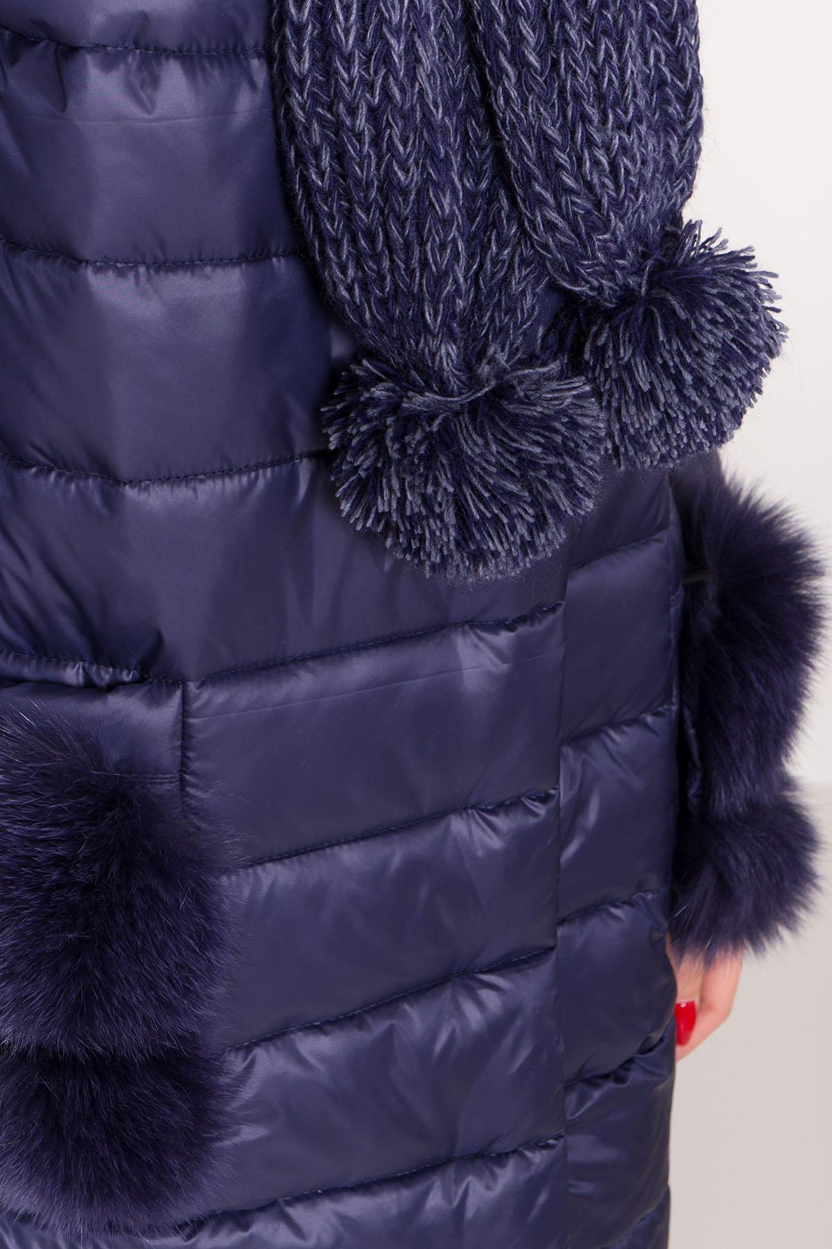 Пуховик прямого кроя с меховыми карманами Лили Лаке 8365 АРТ. 44561 Цвет: т. синий - фото 6, интернет магазин tm-modus.ru