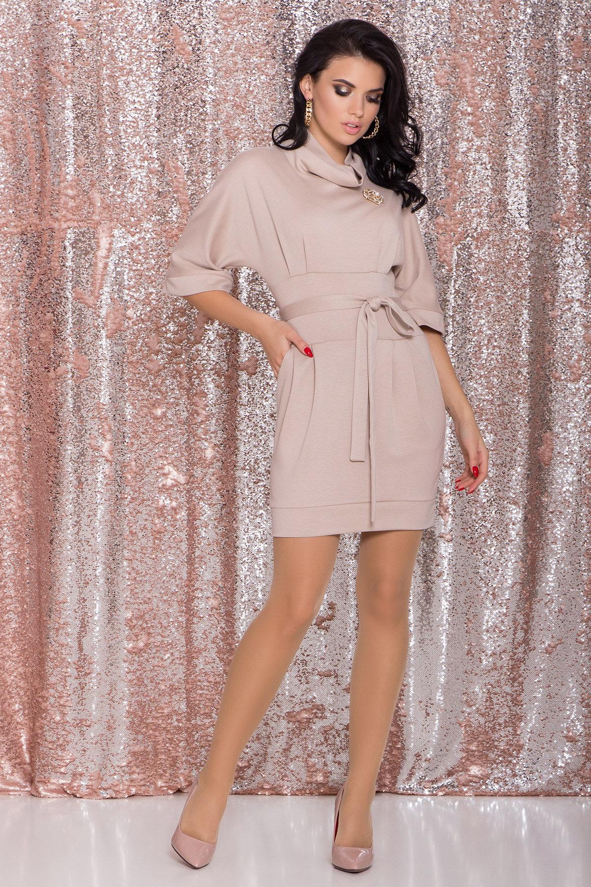 Трикотажное платье Вассаби 8478 АРТ. 44764 Цвет: Бежевый - фото 1, интернет магазин tm-modus.ru