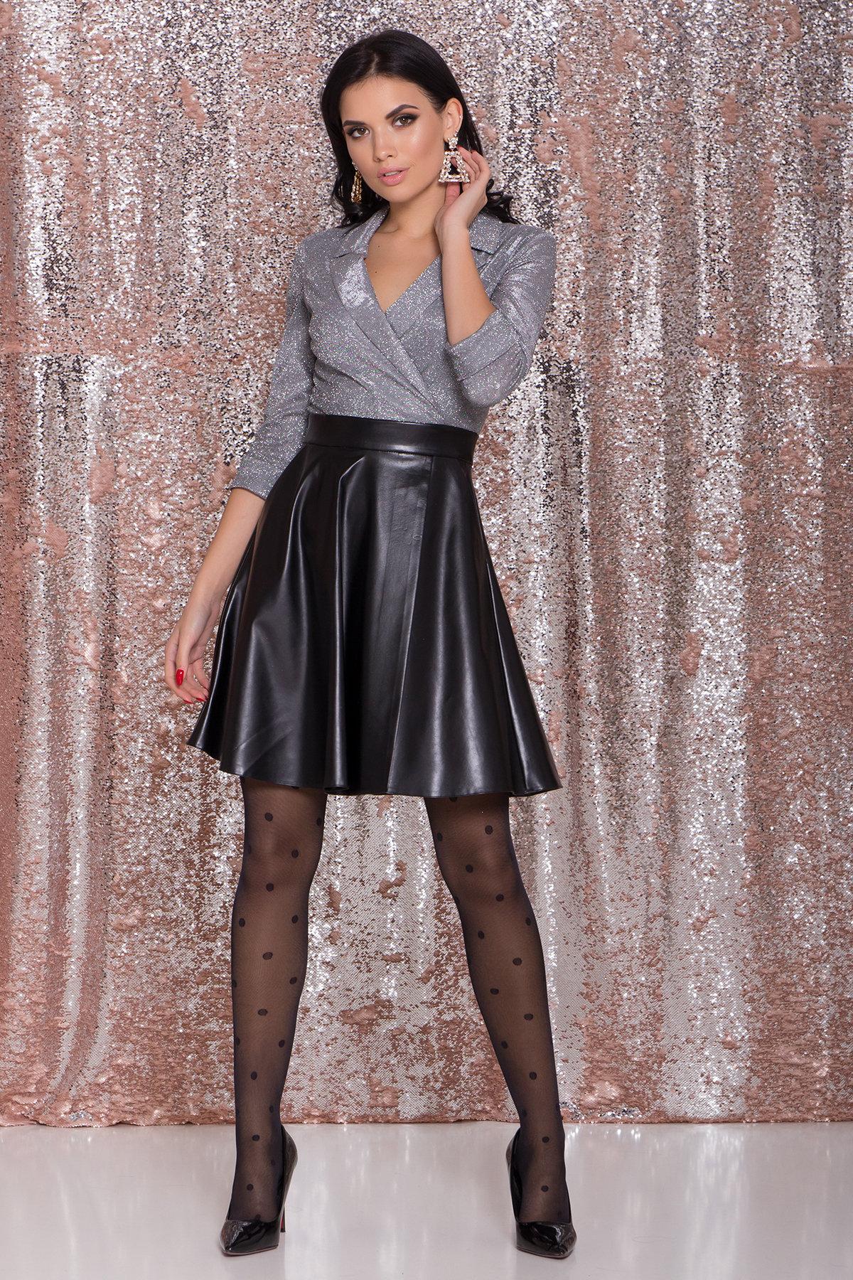 Платье с юбкой из экокожи Айс 8337 Цвет: Черный