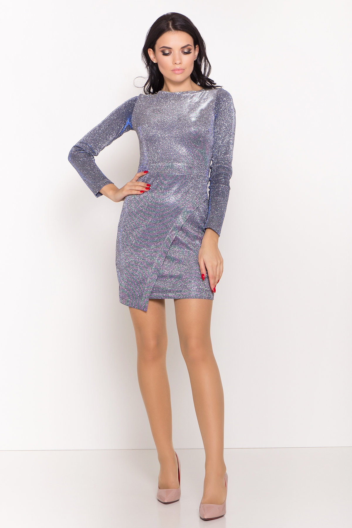 Коктейльное платье Кристал 8346 АРТ. 44717 Цвет: Серебро/электрик - фото 1, интернет магазин tm-modus.ru