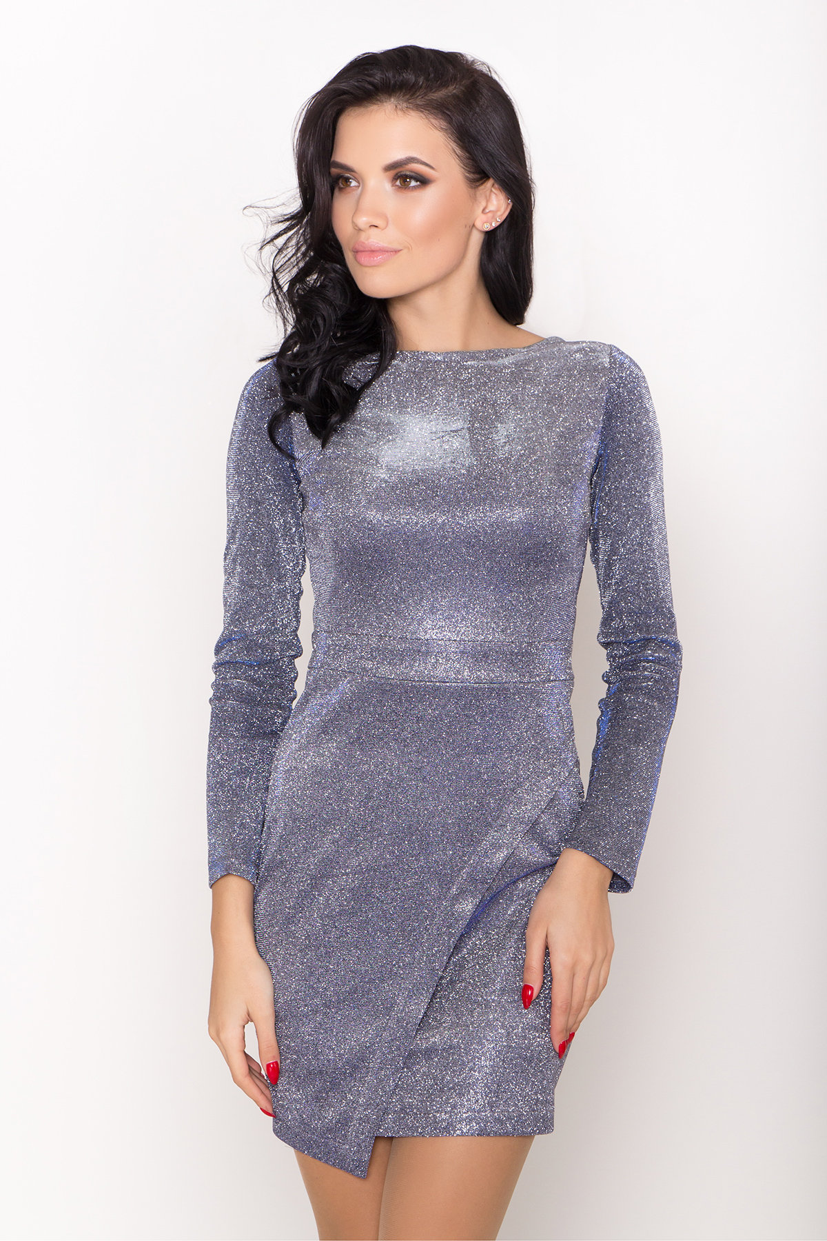 Коктейльное платье Кристал 8346 АРТ. 44717 Цвет: Серебро/электрик - фото 3, интернет магазин tm-modus.ru