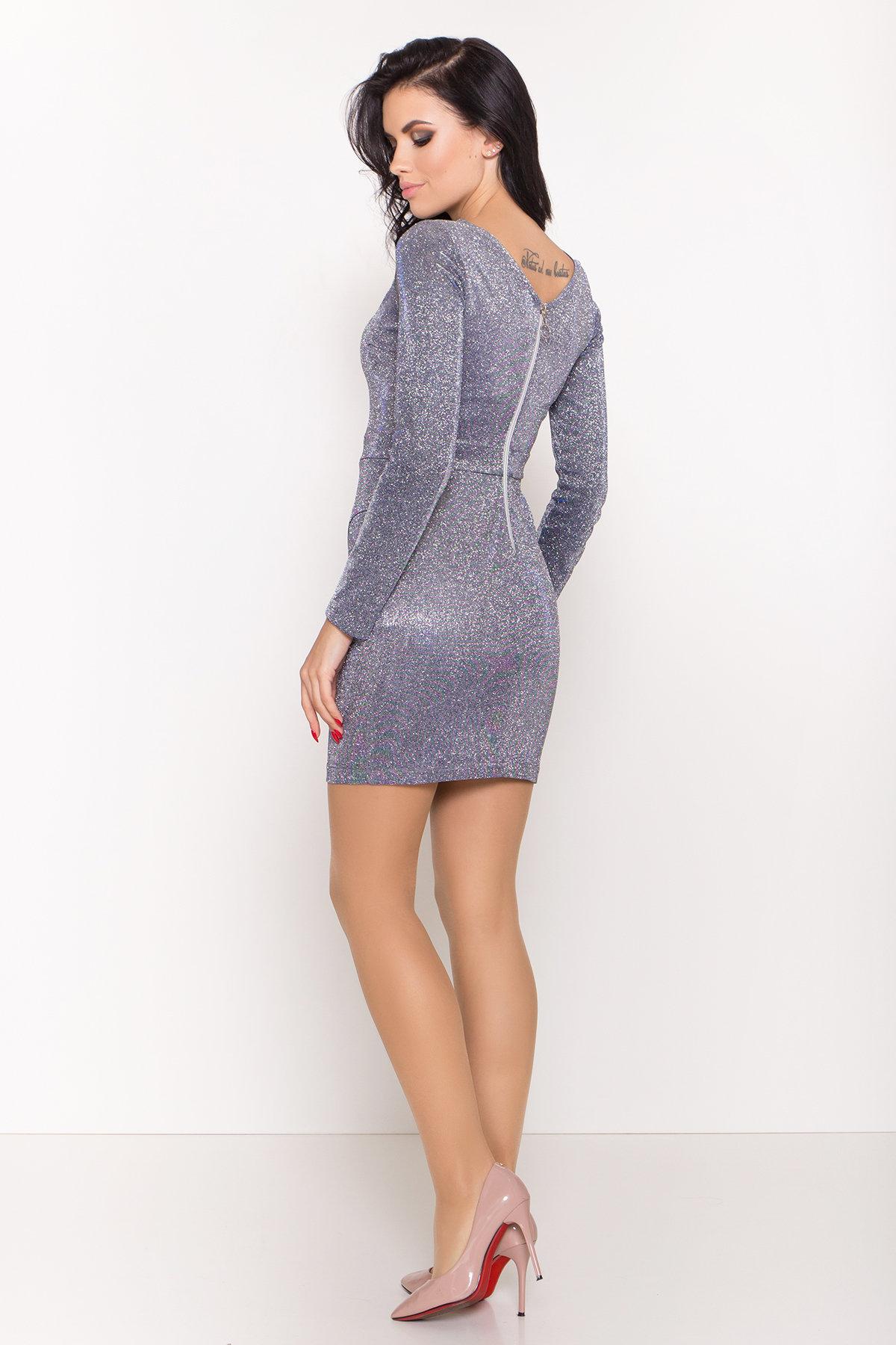 Коктейльное платье Кристал 8346 АРТ. 44717 Цвет: Серебро/электрик - фото 5, интернет магазин tm-modus.ru