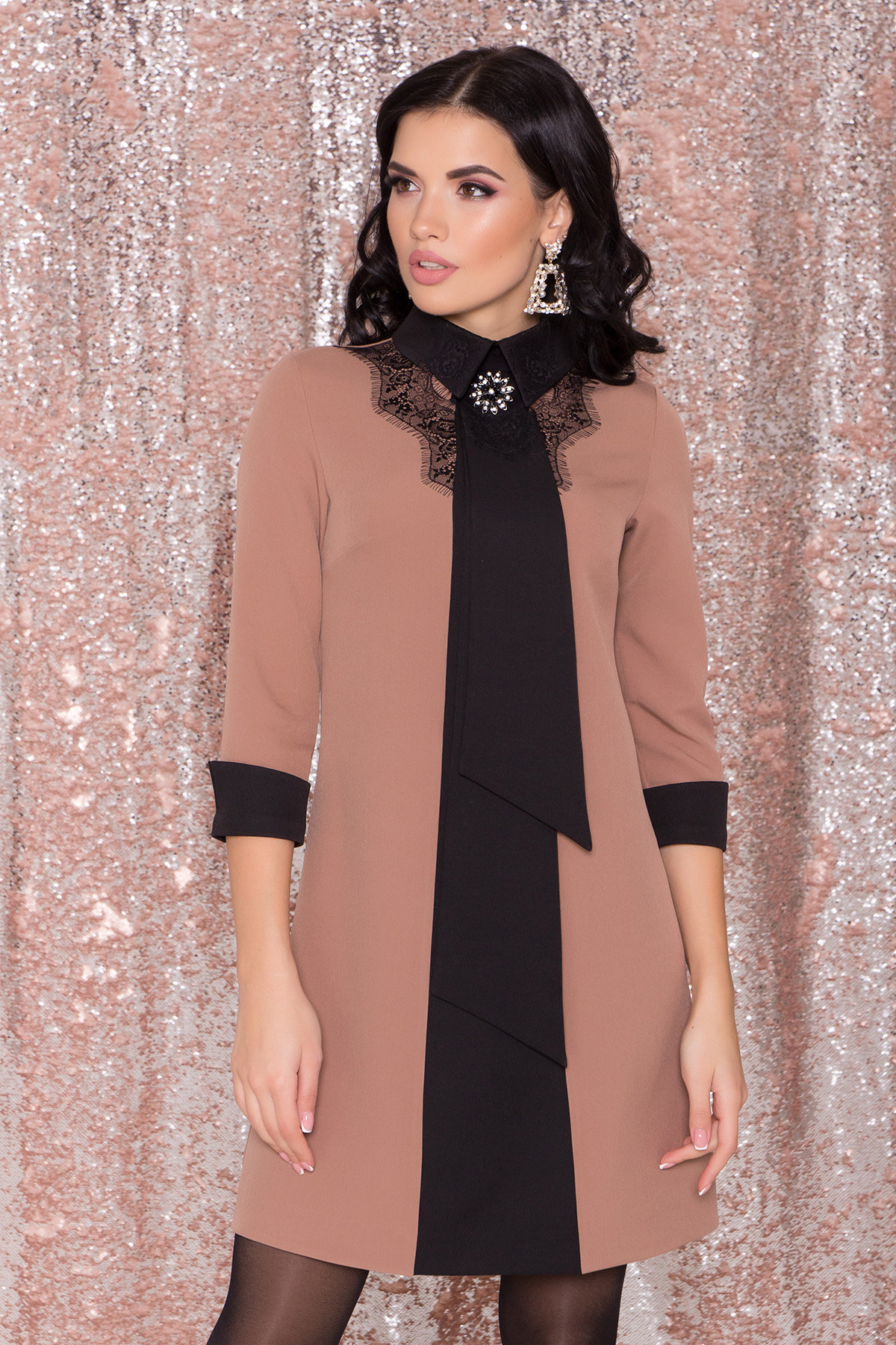 Платье-трапеция Вивьен 8512 АРТ. 44800 Цвет: Бежевый Т/черный - фото 2, интернет магазин tm-modus.ru