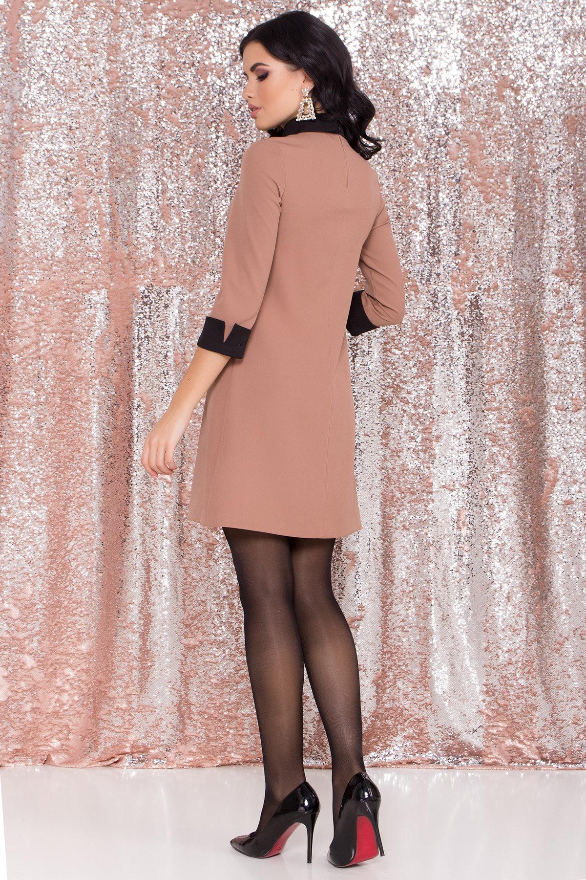Платье-трапеция Вивьен 8512 АРТ. 44800 Цвет: Бежевый Т/черный - фото 3, интернет магазин tm-modus.ru