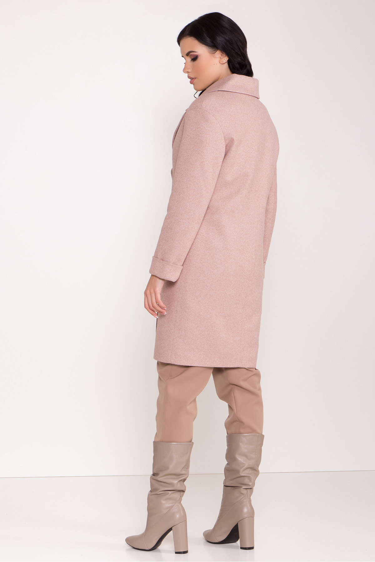 Зимнее утепленное пальто диагональ Вива 8243 АРТ. 44280 Цвет: Бежевый - фото 7, интернет магазин tm-modus.ru