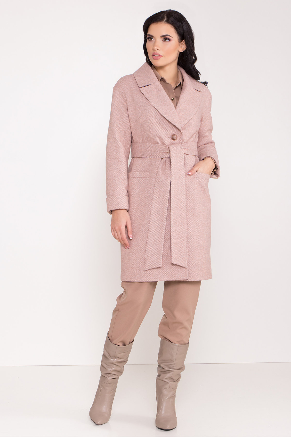Зимнее утепленное пальто диагональ Вива 8243 АРТ. 44280 Цвет: Бежевый - фото 10, интернет магазин tm-modus.ru
