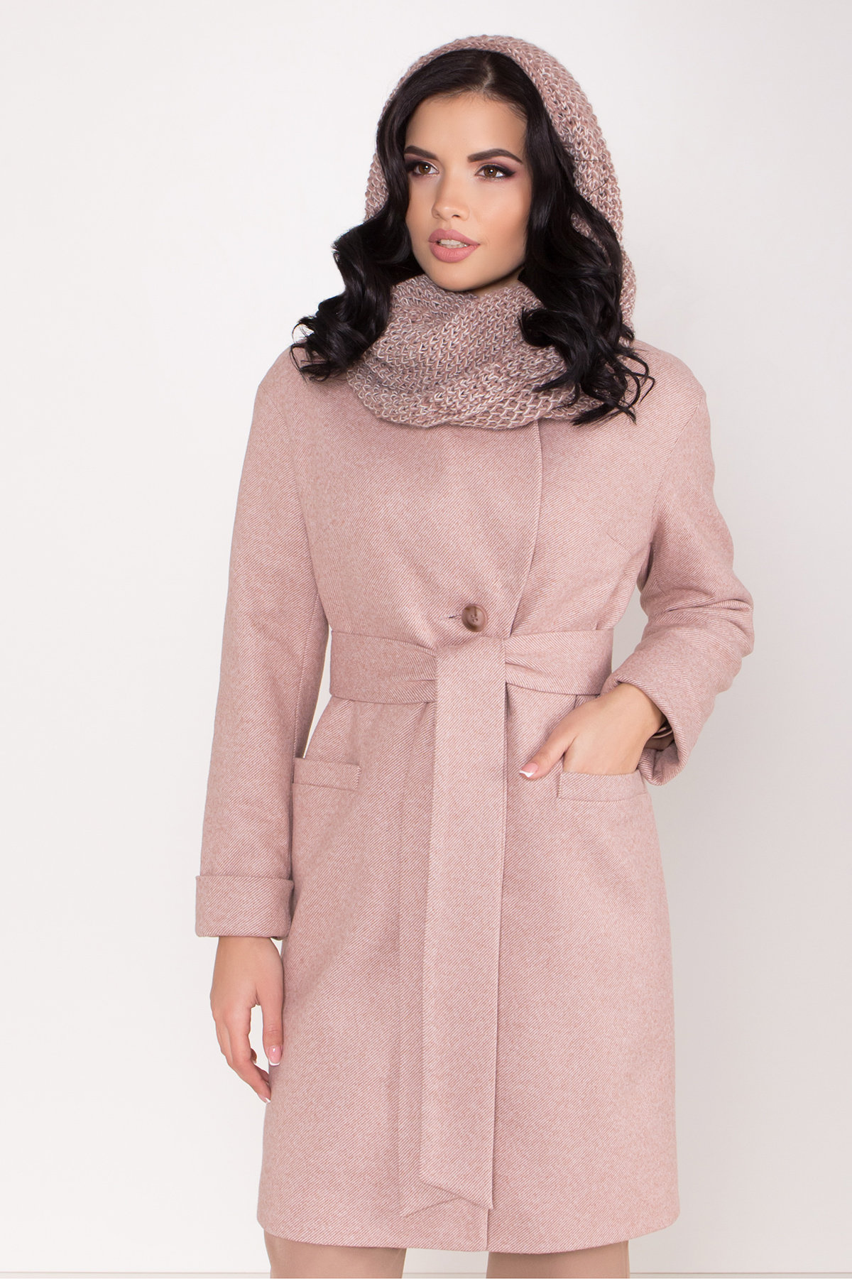 Зимнее утепленное пальто диагональ Вива 8243 АРТ. 44280 Цвет: Бежевый - фото 16, интернет магазин tm-modus.ru