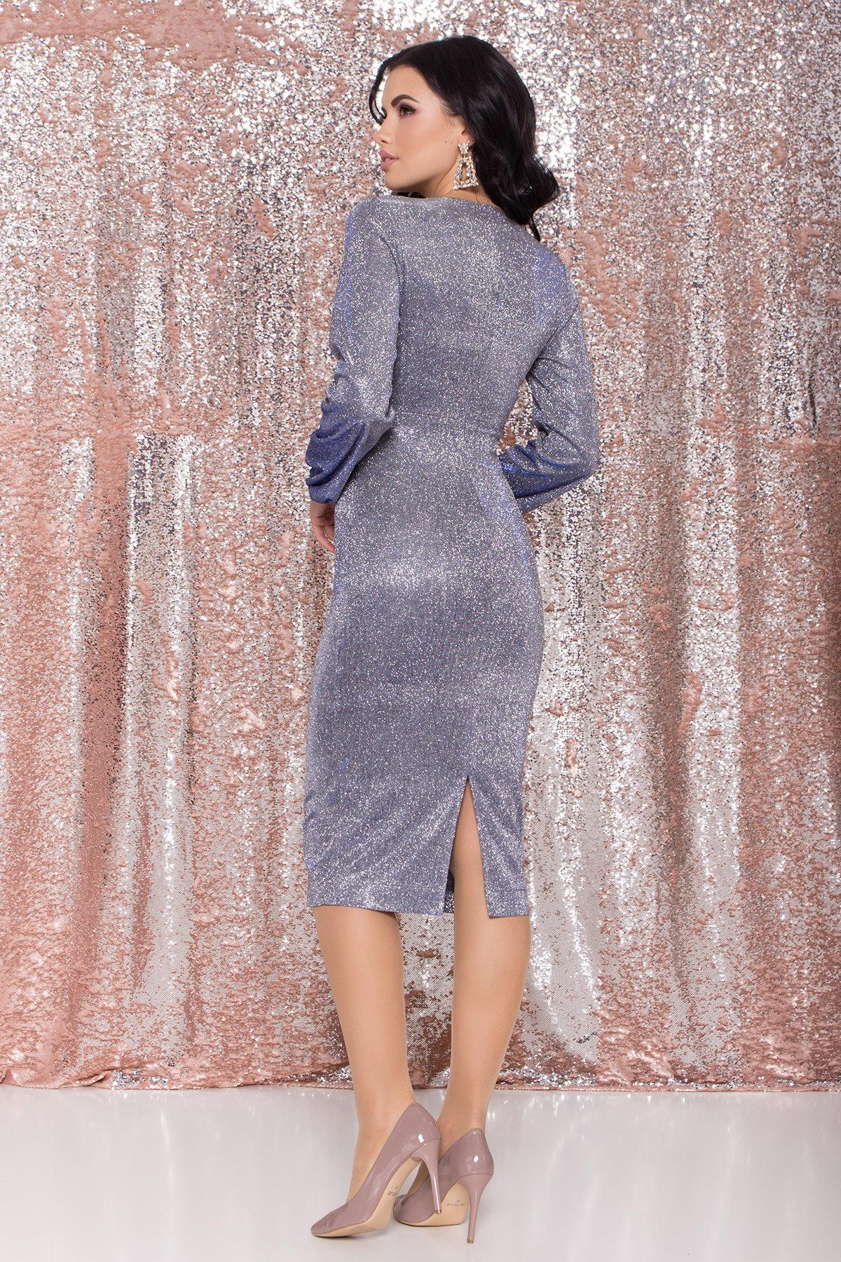 Нарядное платье с люрексом Фаселис 8527 АРТ. 44848 Цвет: Серебро/электрик - фото 8, интернет магазин tm-modus.ru