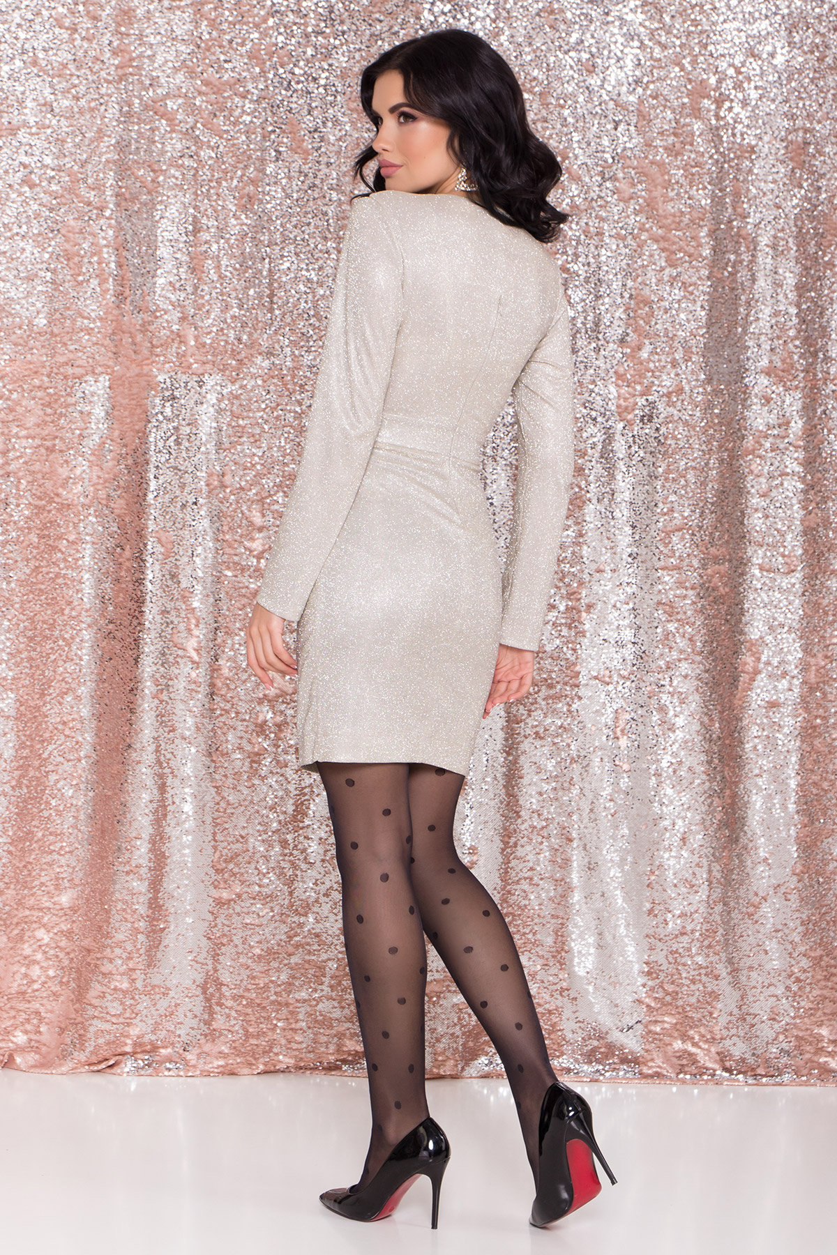 Контрастное двухцветное платье Блеск 8511 АРТ. 44822 Цвет: Серебро/золото - фото 5, интернет магазин tm-modus.ru