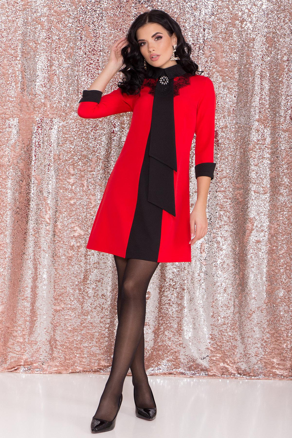 Платье-трапеция Вивьен 8512 Цвет: Красная/черная