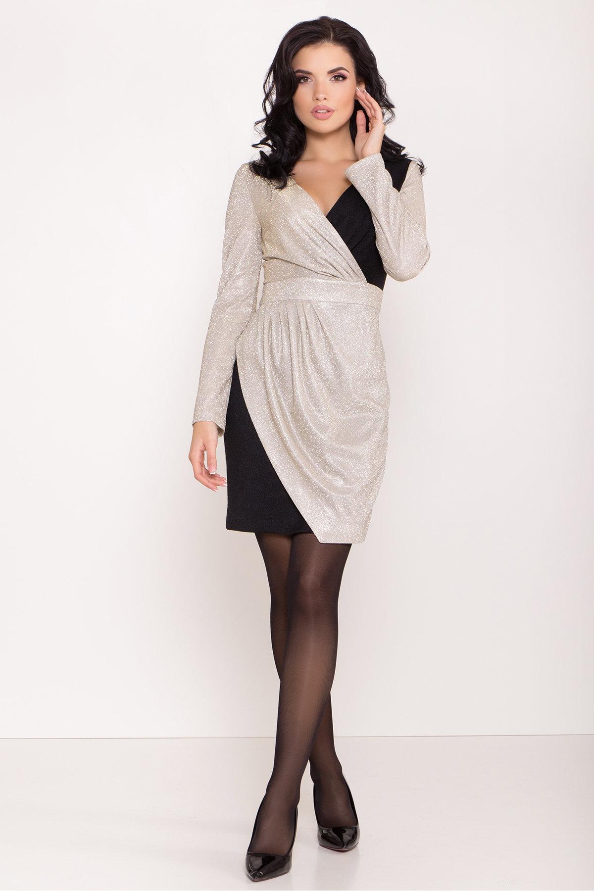 Контрастное двухцветное платье Блеск 8511 АРТ. 44822 Цвет: Серебро/золото - фото 2, интернет магазин tm-modus.ru