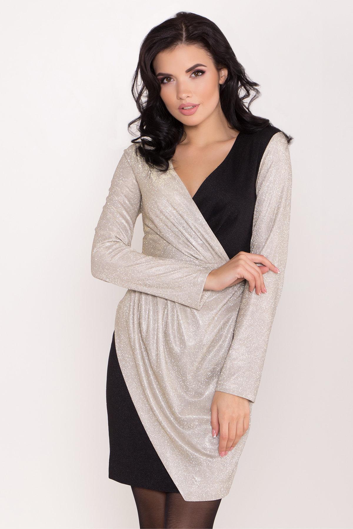 Контрастное двухцветное платье Блеск 8511 АРТ. 44822 Цвет: Серебро/золото - фото 4, интернет магазин tm-modus.ru