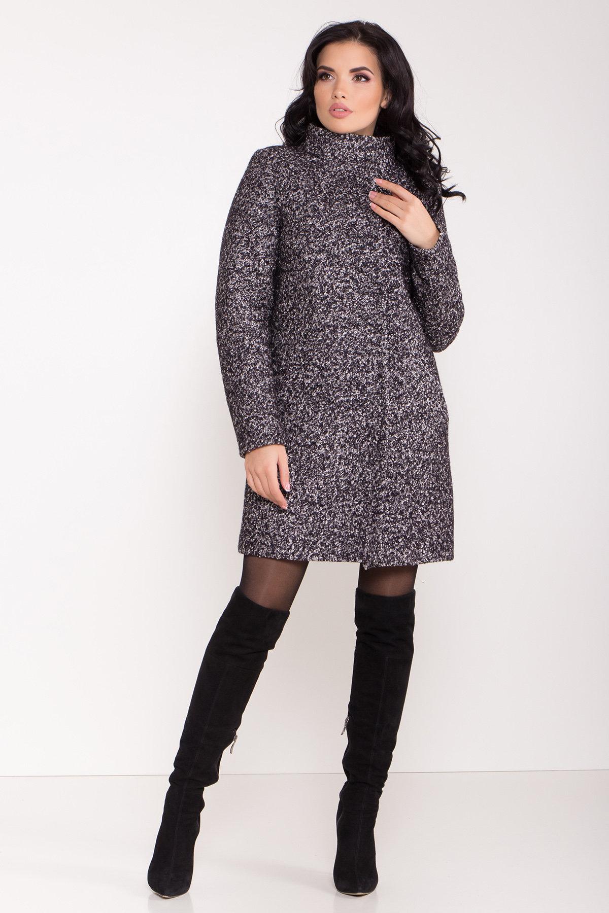 Пальто зима шерсть букле Фортуна 8508 АРТ. 44807 Цвет: Черный/серый - фото 3, интернет магазин tm-modus.ru