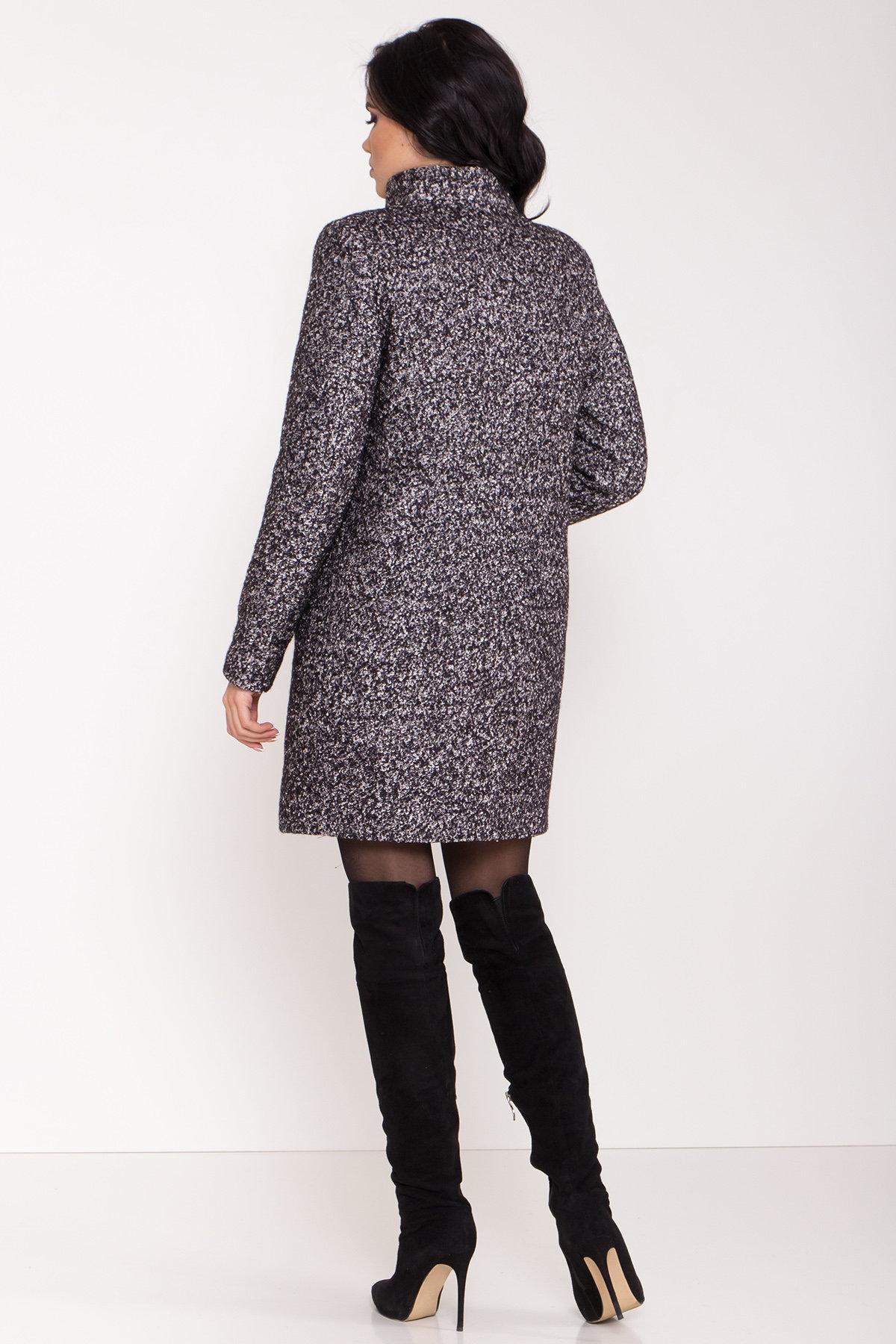 Пальто зима шерсть букле Фортуна 8508 АРТ. 44807 Цвет: Черный/серый - фото 4, интернет магазин tm-modus.ru