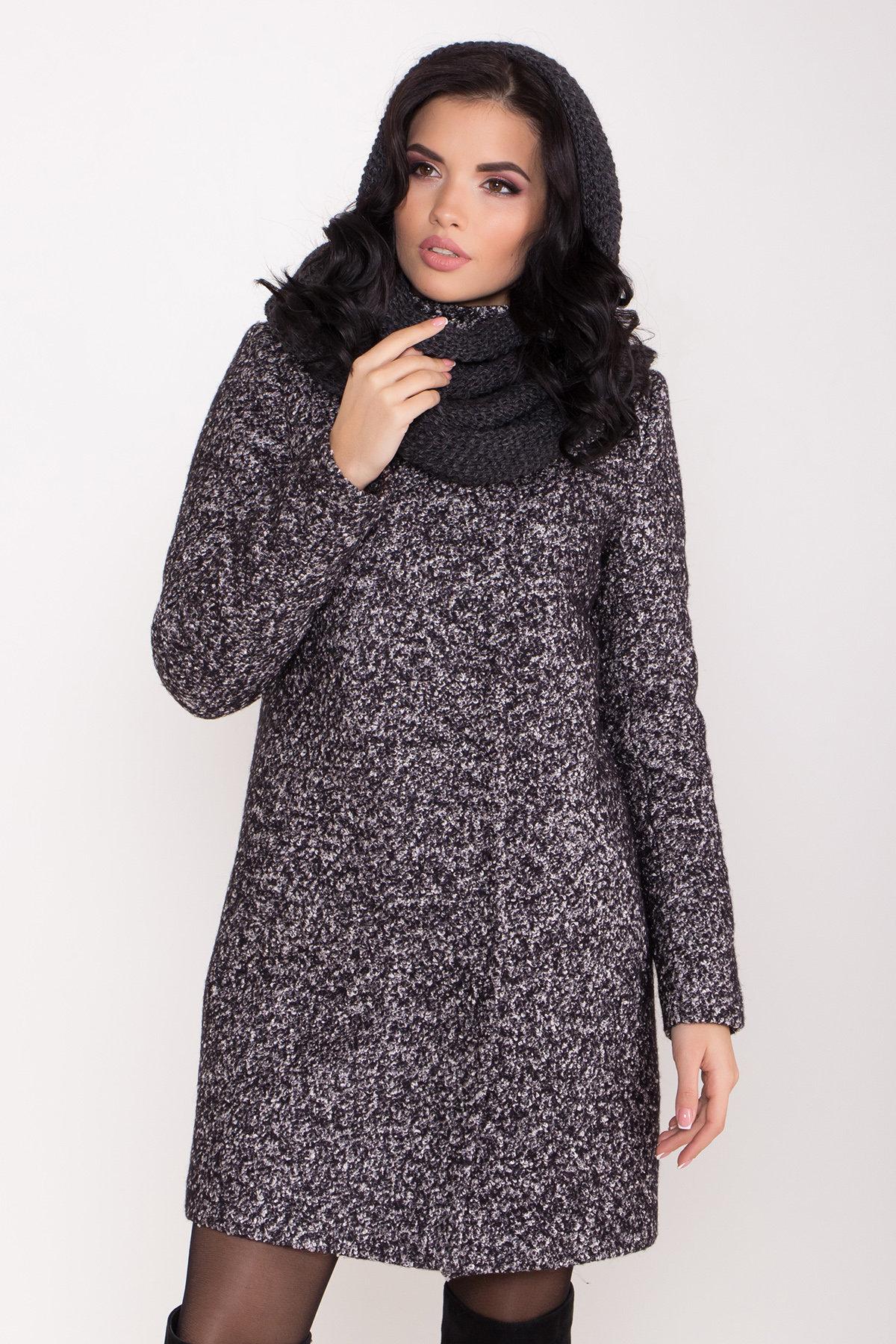 Пальто зима шерсть букле Фортуна 8508 АРТ. 44807 Цвет: Черный/серый - фото 5, интернет магазин tm-modus.ru