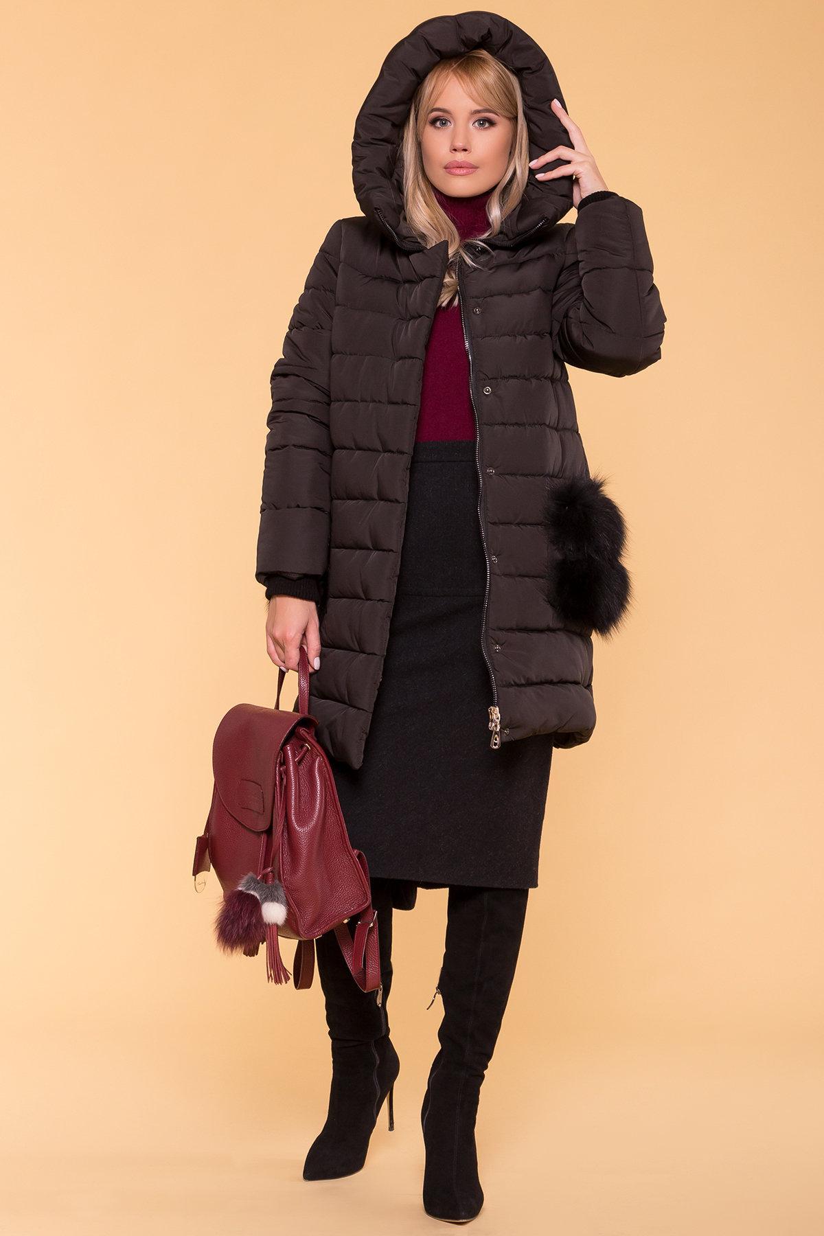 Зимний пуховик прямого кроя Лили Канада 8363 АРТ. 44551 Цвет: Черный - фото 4, интернет магазин tm-modus.ru