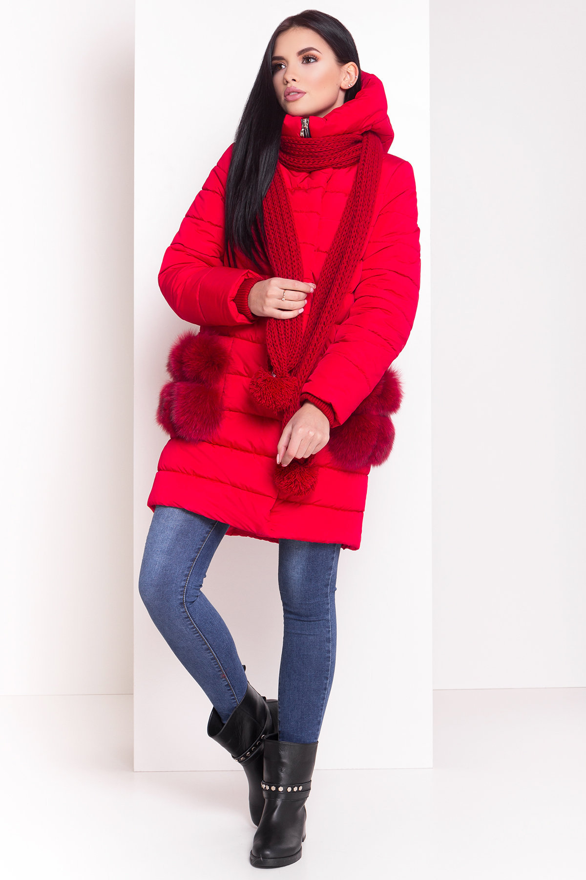 Зимний пуховик прямого кроя Лили Канада 8363 АРТ. 44554 Цвет: Красный - фото 1, интернет магазин tm-modus.ru