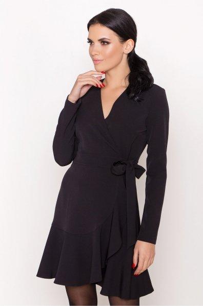Однотонное платье на запах Фламенко 8336 Цвет: Черный