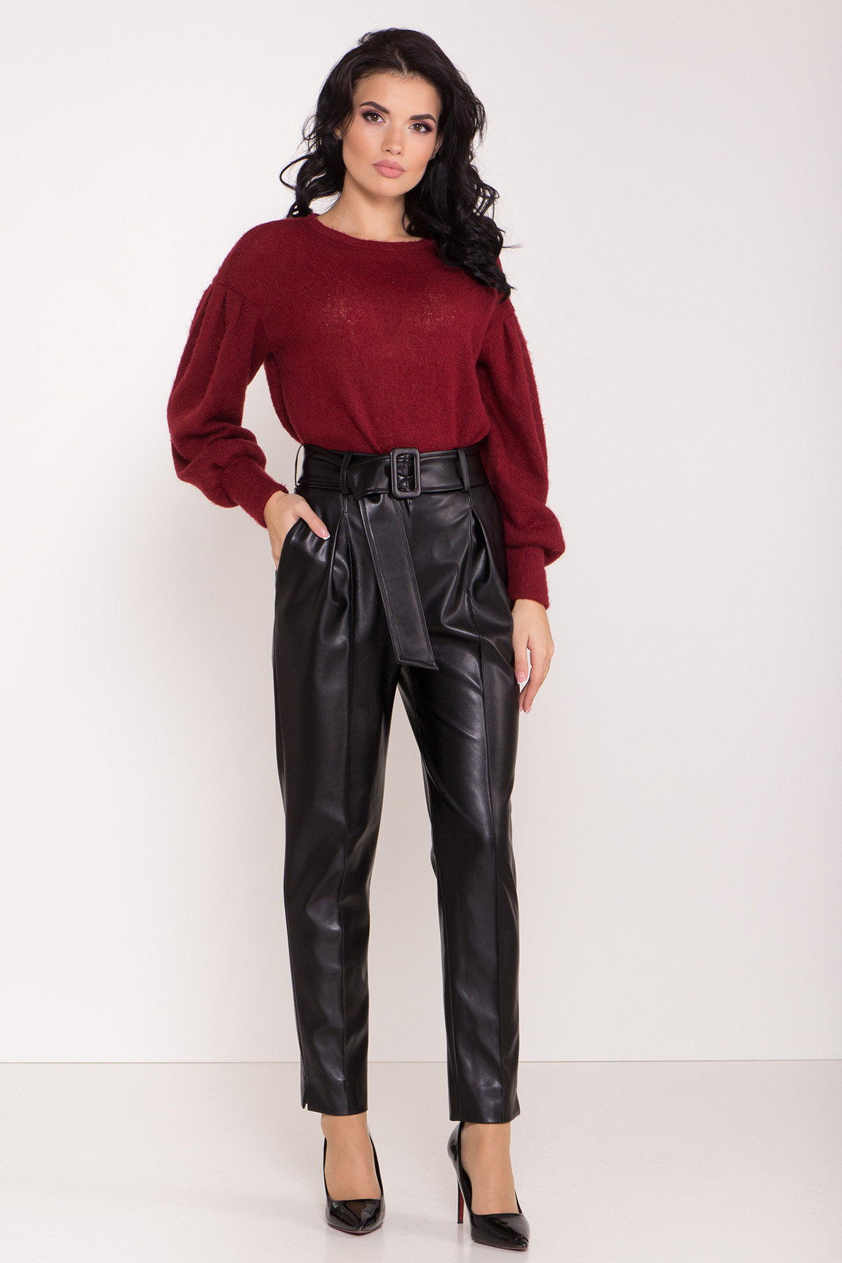 Женские брюки купить Брюки с высокой посадкой из экокожи Кемер 8493