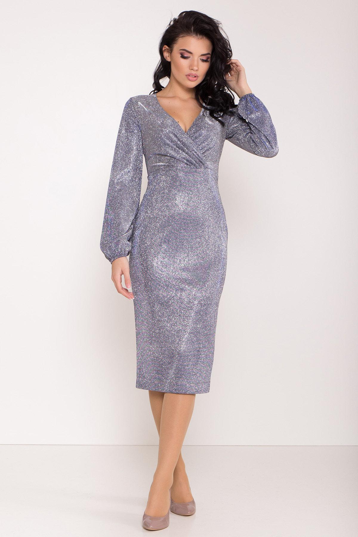 Нарядное платье с люрексом Фаселис 8527 АРТ. 44848 Цвет: Серебро/электрик - фото 1, интернет магазин tm-modus.ru