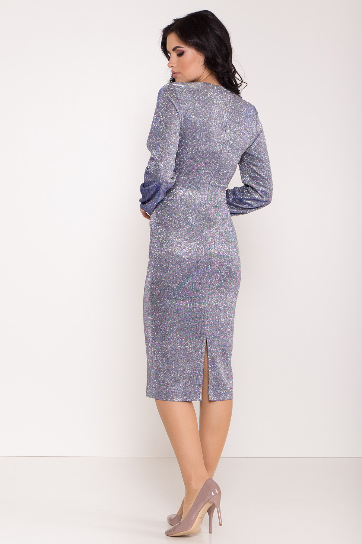 Нарядное платье с люрексом Фаселис 8527 АРТ. 44848 Цвет: Серебро/электрик - фото 3, интернет магазин tm-modus.ru