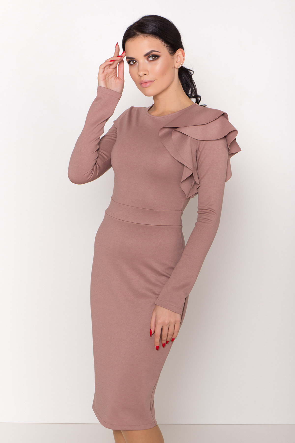 Платье Оникс 8367 АРТ. 44795 Цвет: Бежевый Темный - фото 4, интернет магазин tm-modus.ru