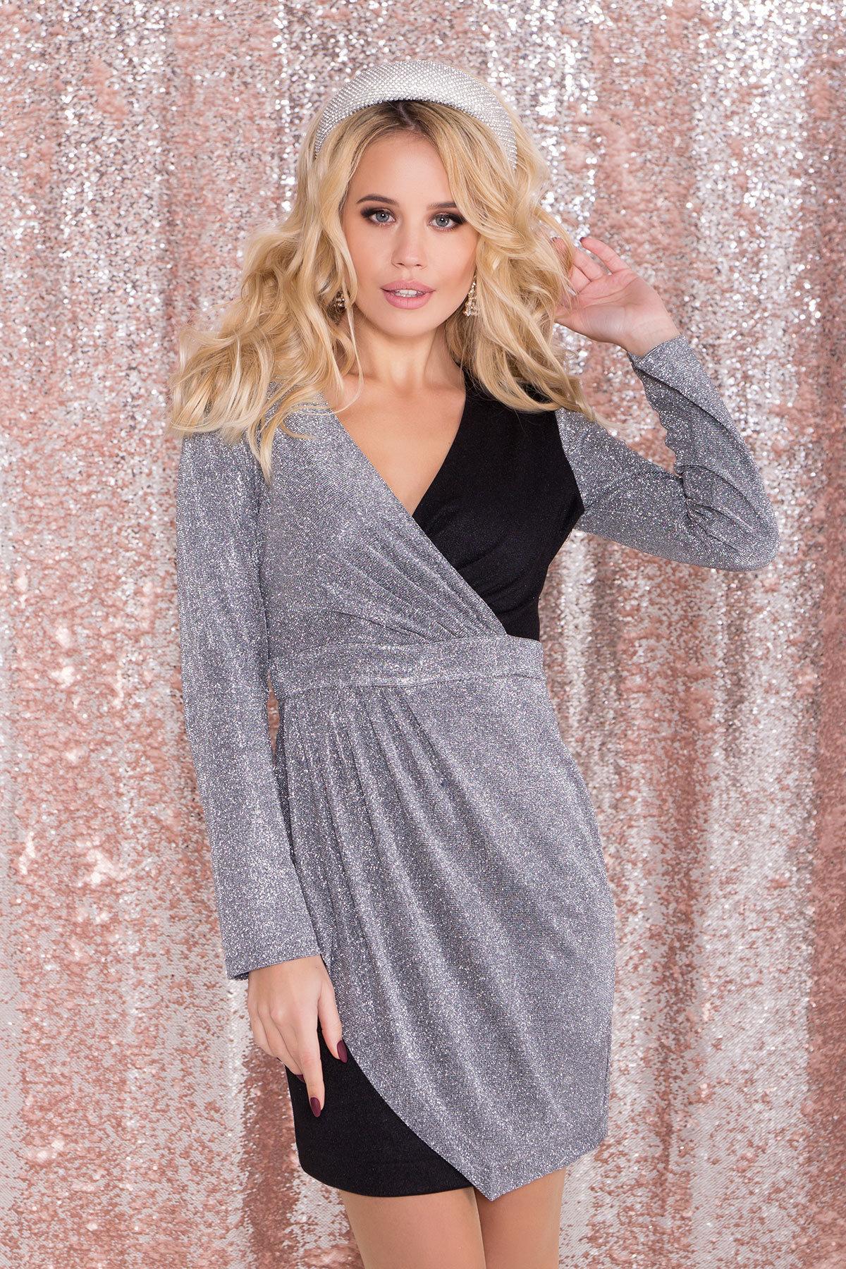 Контрастное двухцветное платье Блеск 8511 АРТ. 44864 Цвет: Серебро/графит - фото 2, интернет магазин tm-modus.ru