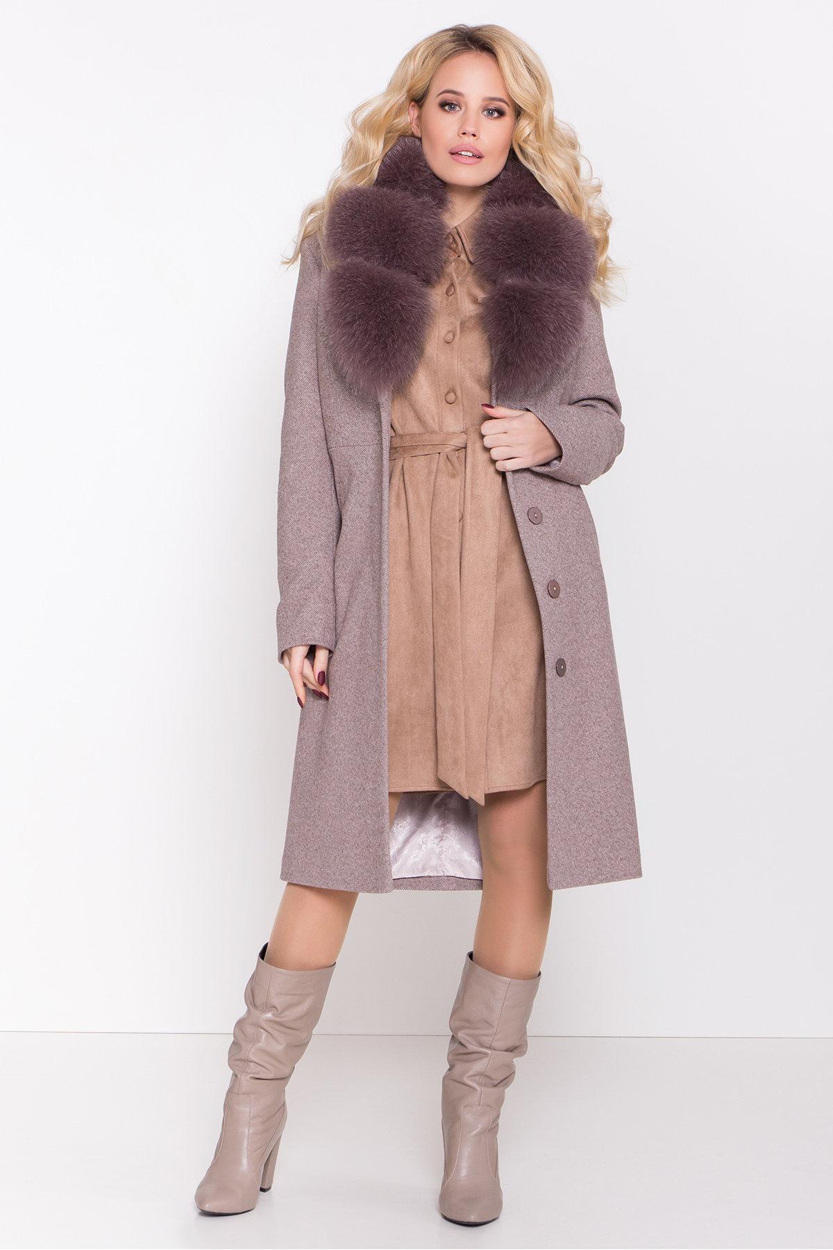 Зимнее пальто с роскошным воротником из песца Камила классик 8489 АРТ. 44779 Цвет: Шоколадный меланж - фото 2, интернет магазин tm-modus.ru