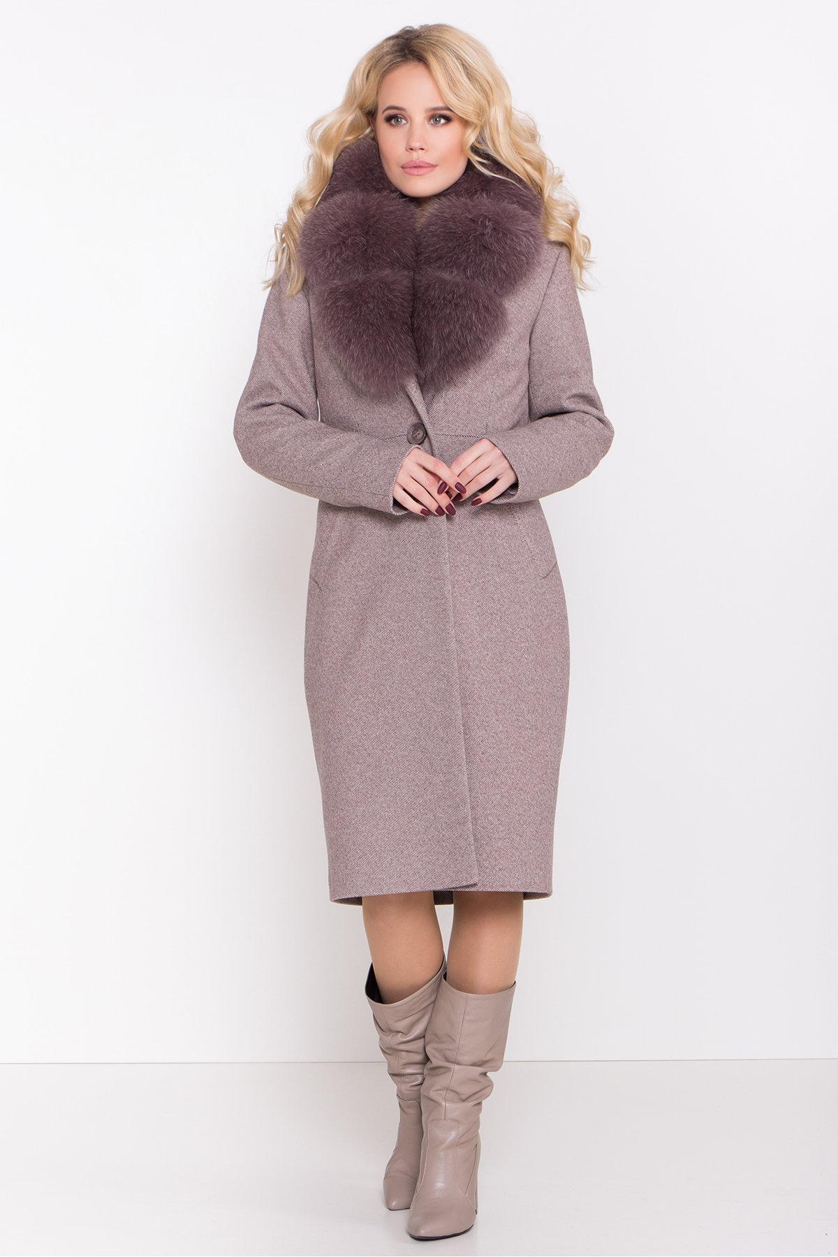 Зимнее пальто с роскошным воротником из песца Камила классик 8489 АРТ. 44779 Цвет: Шоколадный меланж - фото 3, интернет магазин tm-modus.ru