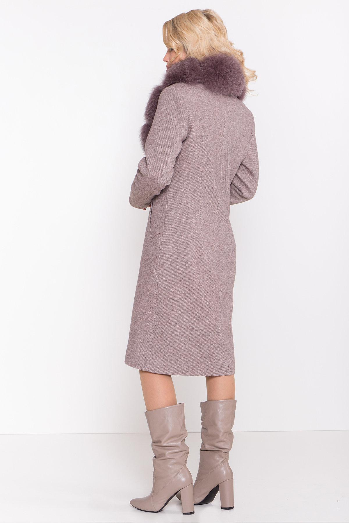 Зимнее пальто с роскошным воротником из песца Камила классик 8489 АРТ. 44779 Цвет: Шоколадный меланж - фото 4, интернет магазин tm-modus.ru