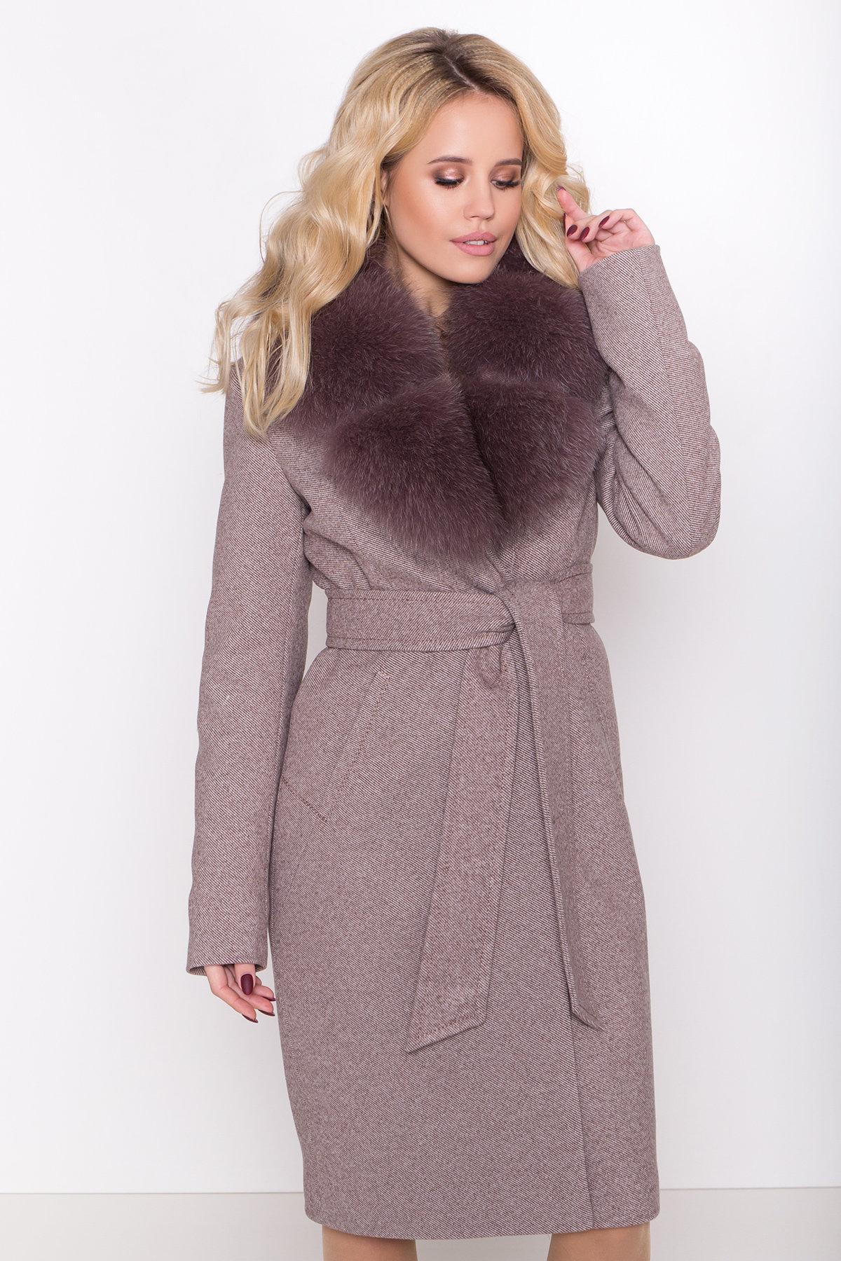 Зимнее пальто с роскошным воротником из песца Камила классик 8489 АРТ. 44779 Цвет: Шоколадный меланж - фото 5, интернет магазин tm-modus.ru