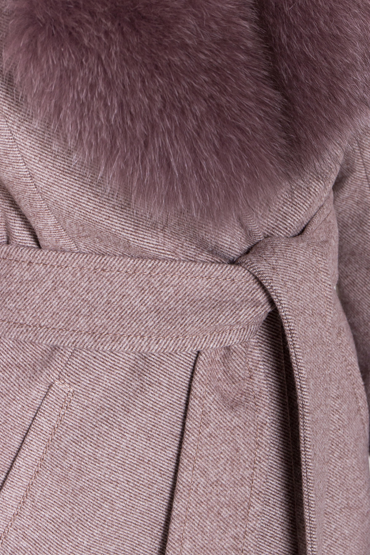 Зимнее пальто с роскошным воротником из песца Камила классик 8489 АРТ. 44779 Цвет: Шоколадный меланж - фото 6, интернет магазин tm-modus.ru
