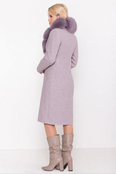 Серое стильное пальто зима с меховым воротником Камила классик 8165 Цвет: Серо-розовый 6