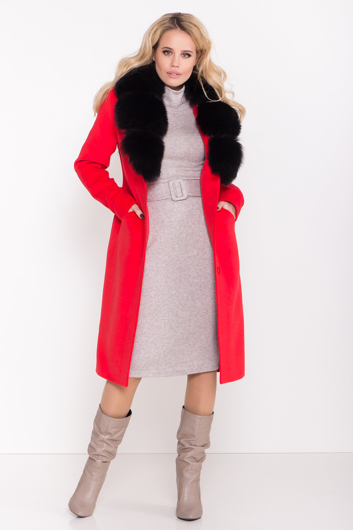 Зимнее пальто с меховым воротником Кареро 8439 АРТ. 44695 Цвет: Красный - фото 2, интернет магазин tm-modus.ru