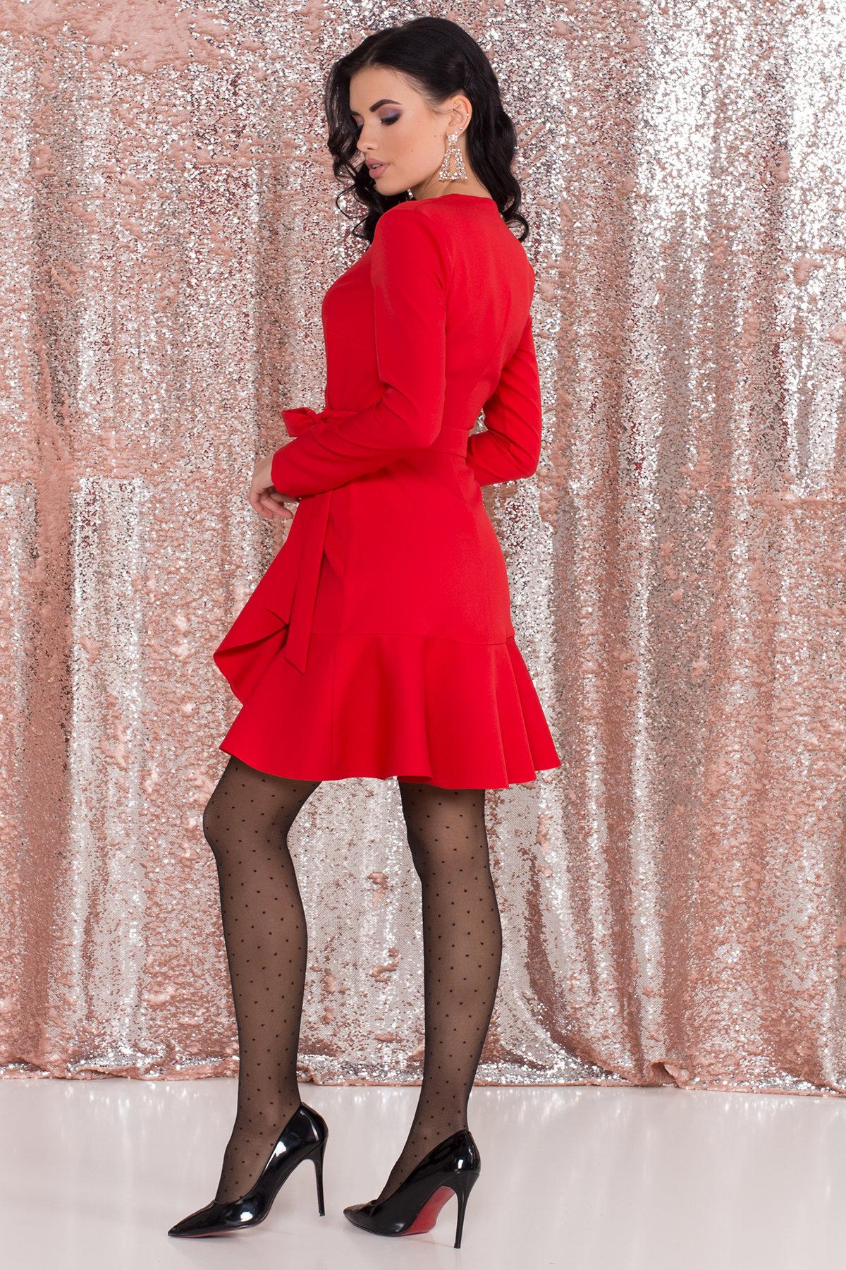 Однотонное платье на запах Фламенко 8336 АРТ. 44858 Цвет: Красный - фото 3, интернет магазин tm-modus.ru