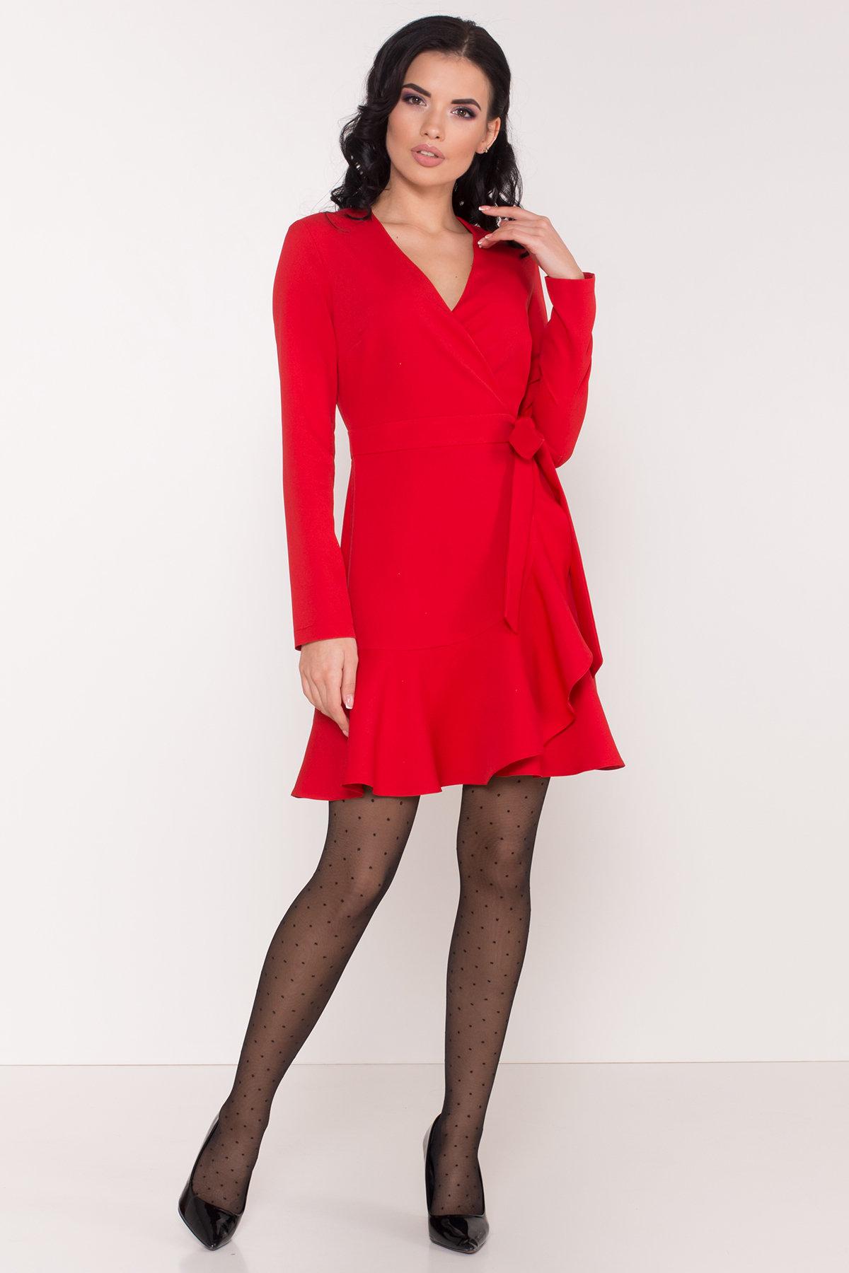 Однотонное платье на запах Фламенко 8336 АРТ. 44858 Цвет: Красный - фото 2, интернет магазин tm-modus.ru