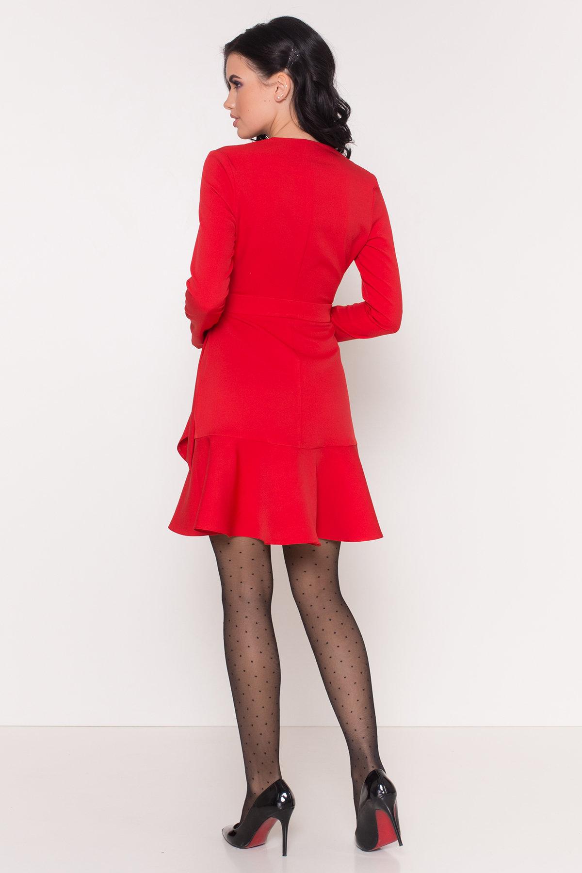 Однотонное платье на запах Фламенко 8336 АРТ. 44858 Цвет: Красный - фото 4, интернет магазин tm-modus.ru