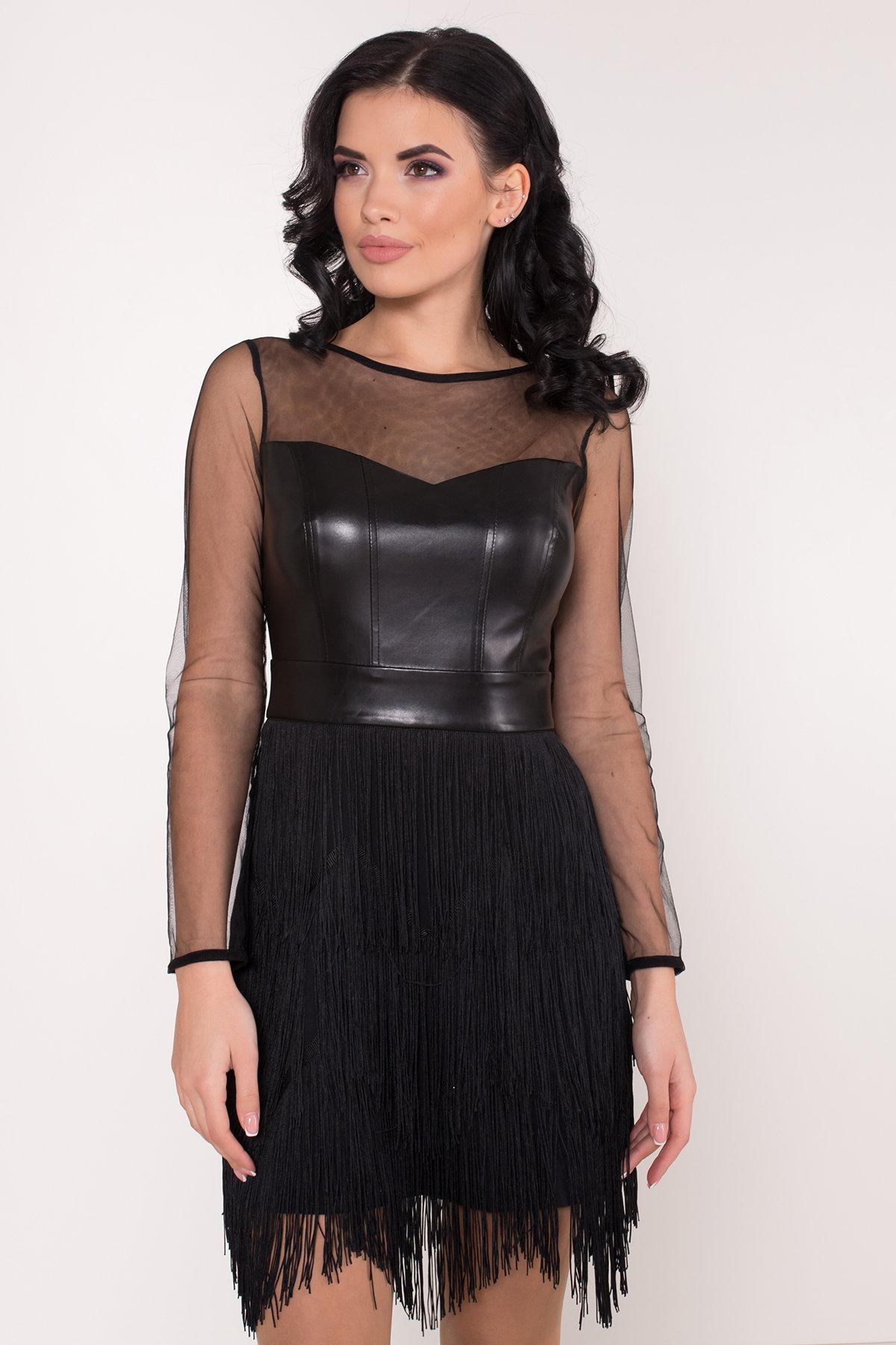 Платье Монталь 8558 АРТ. 44883 Цвет: Черный - фото 6, интернет магазин tm-modus.ru