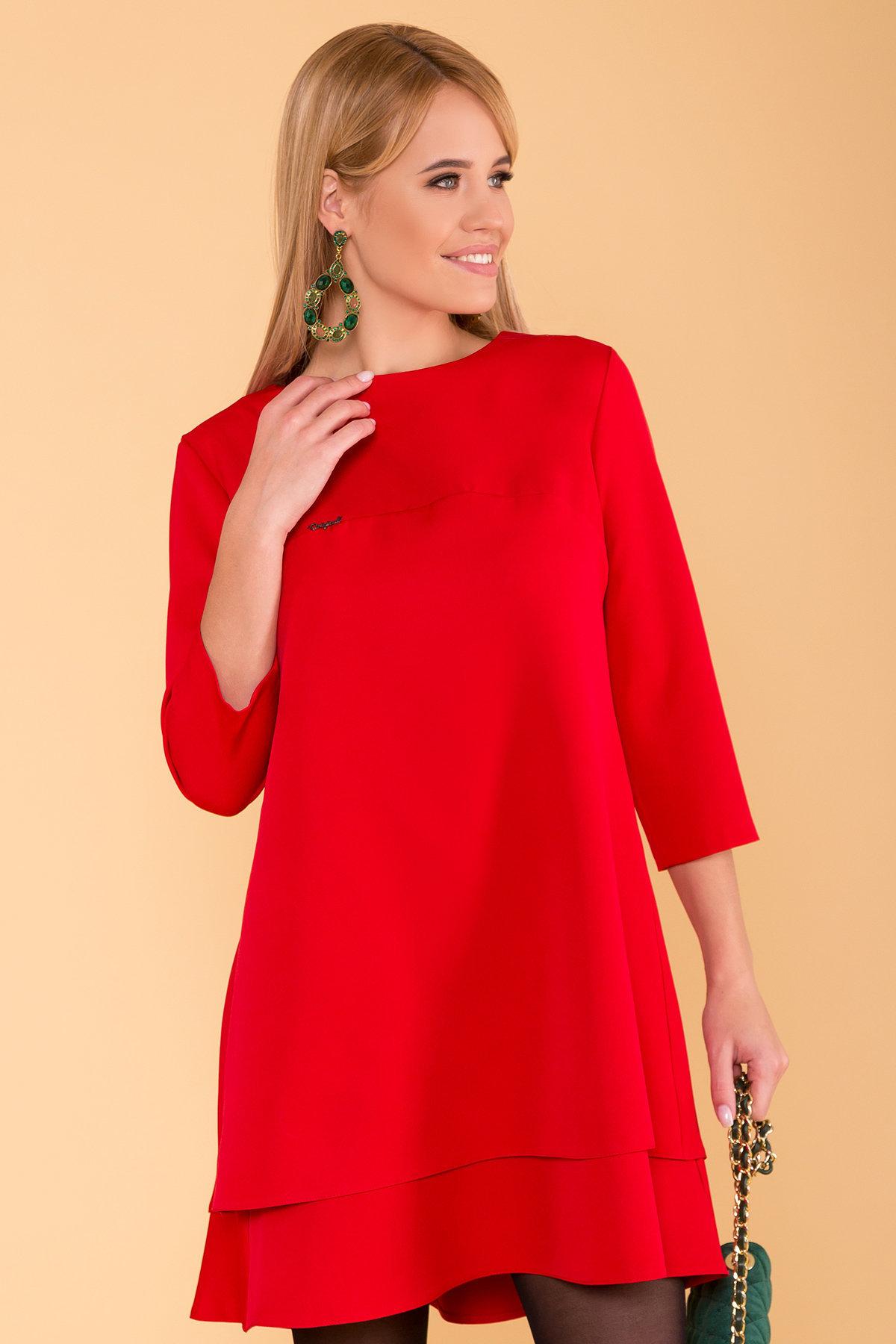 Двухуровневое платье Далафер 8517 АРТ. 44829 Цвет: Красный - фото 3, интернет магазин tm-modus.ru