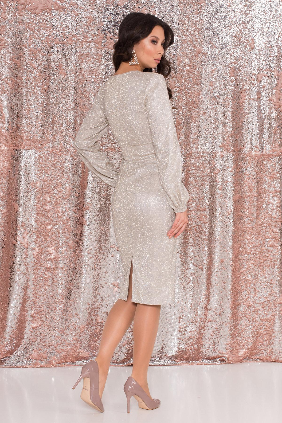 Нарядное платье с люрексом Фаселис 8527 АРТ. 44895 Цвет: Серебро/золото - фото 2, интернет магазин tm-modus.ru