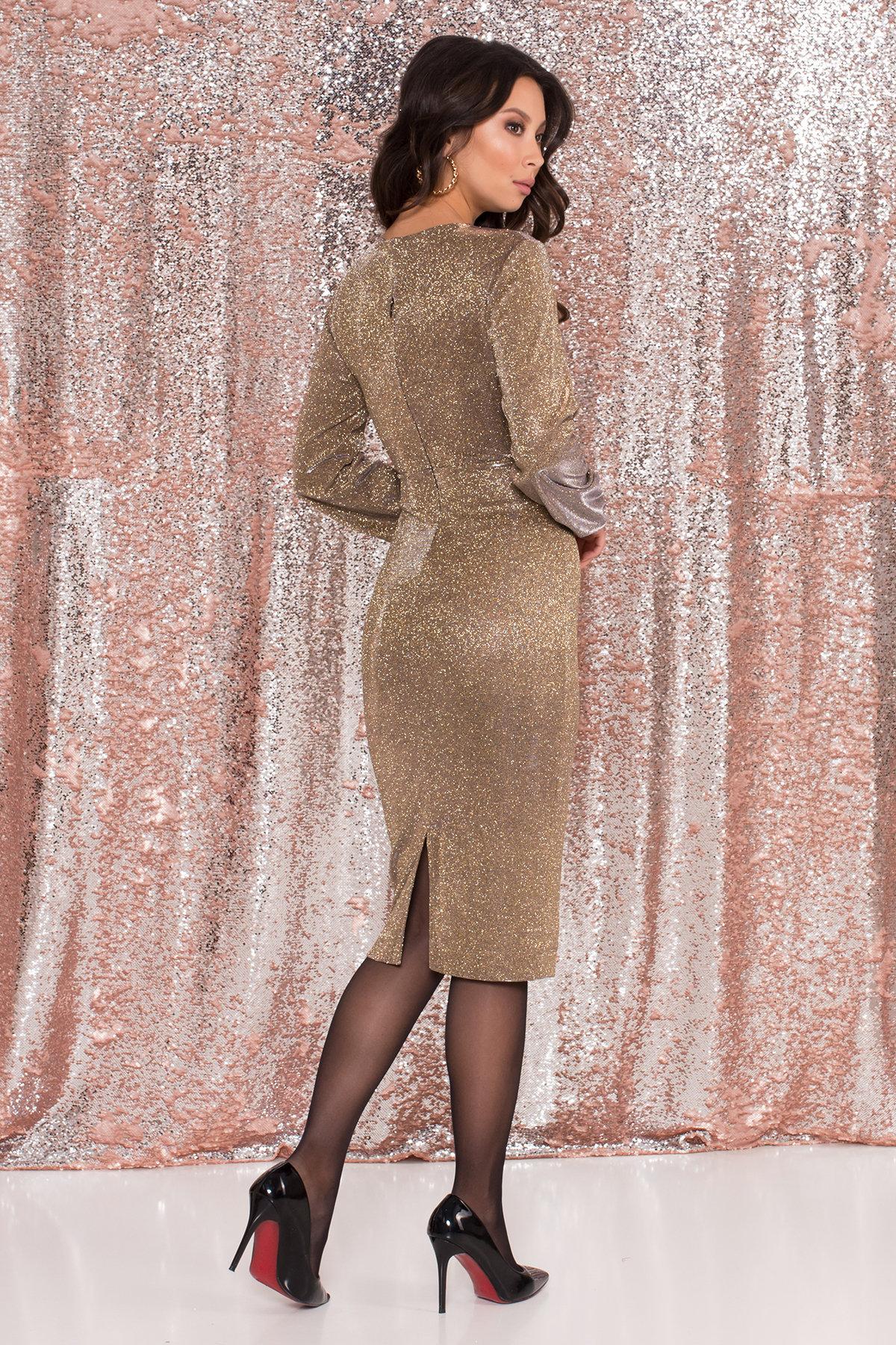 Нарядное платье с люрексом Фаселис 8527 АРТ. 44894 Цвет: Золото/серебро - фото 3, интернет магазин tm-modus.ru