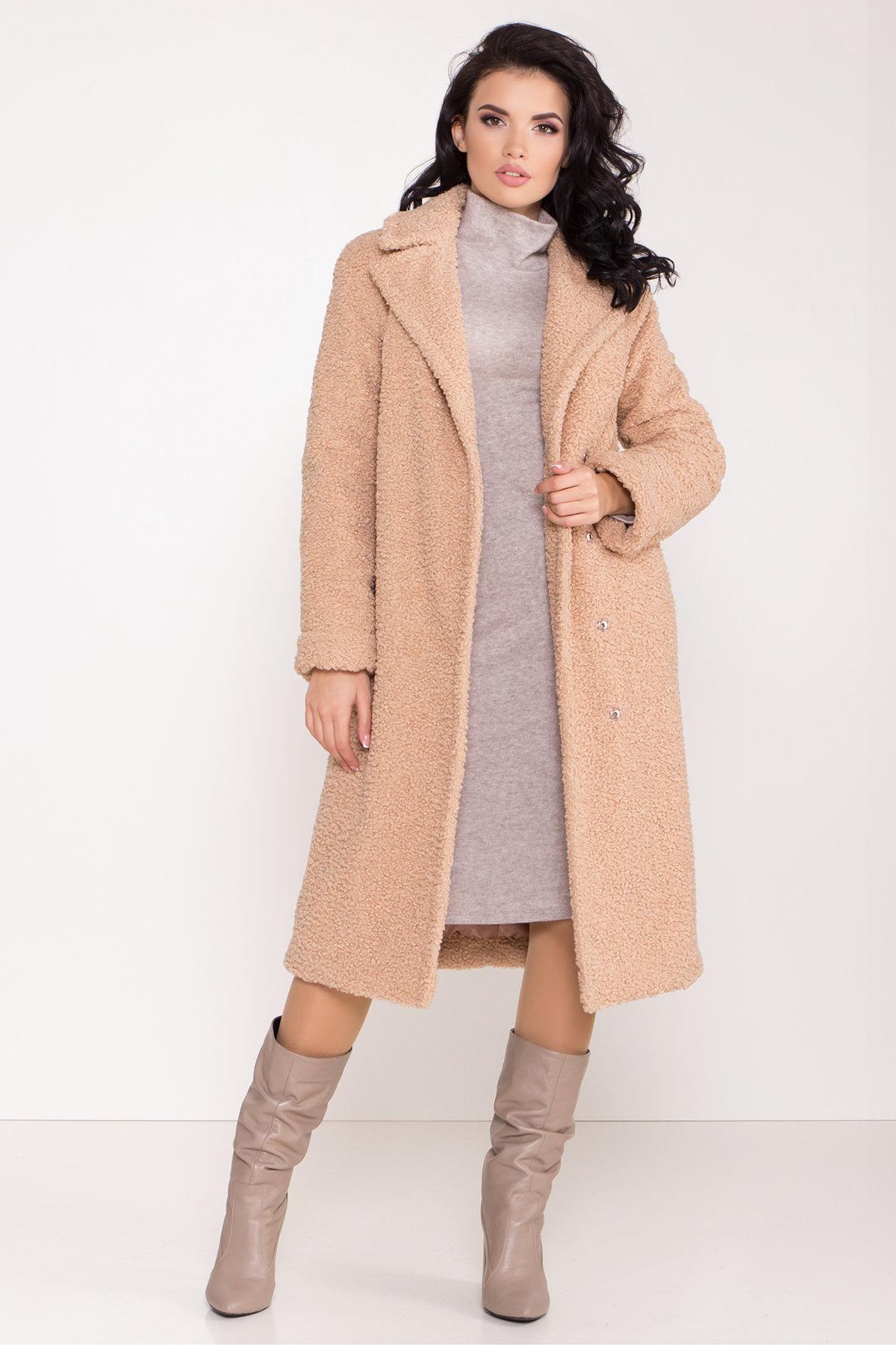 Пальто из эко меха Приора 8564 АРТ. 44886 Цвет: Бежевый - фото 2, интернет магазин tm-modus.ru